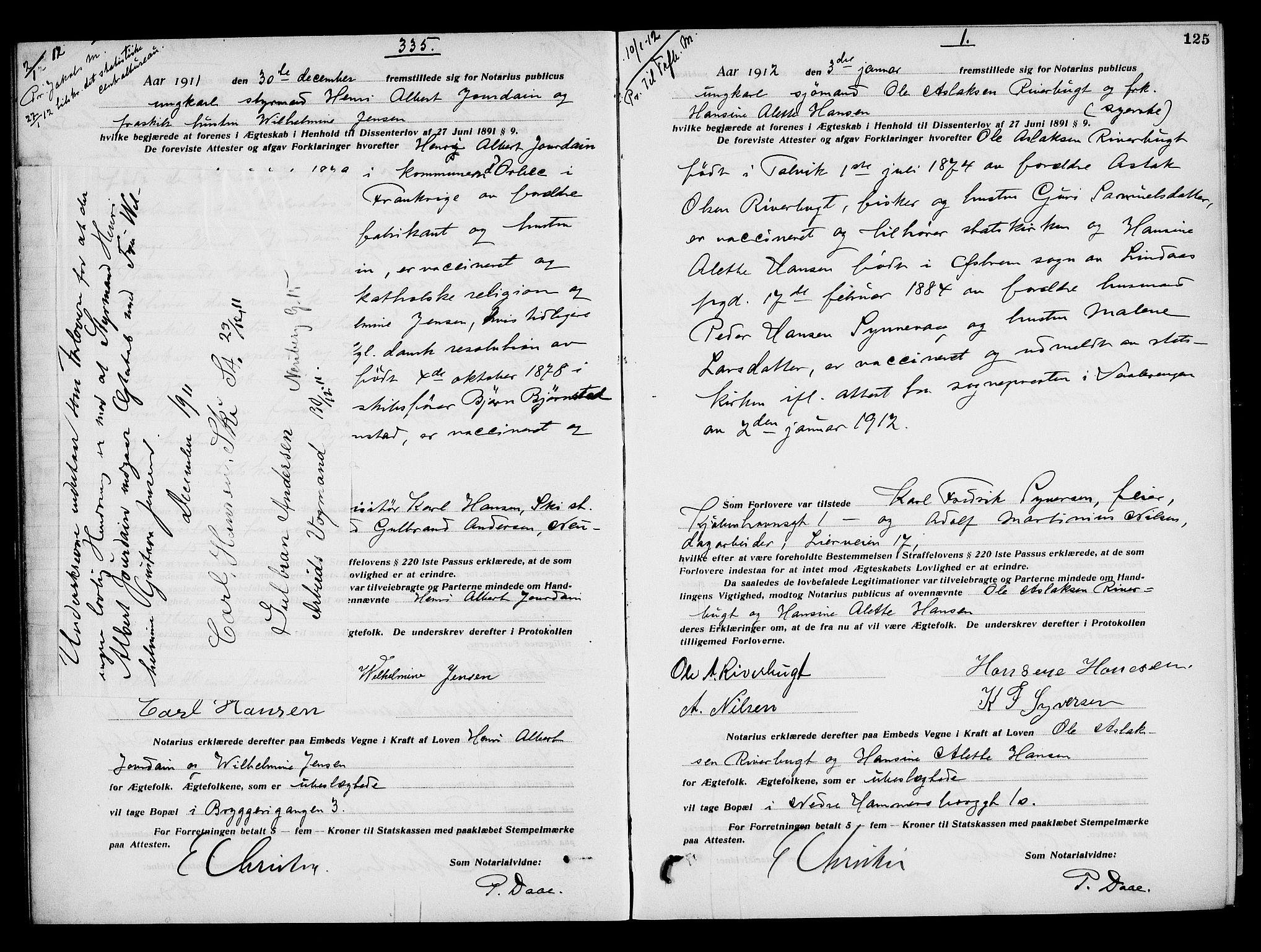 SAO, Oslo byfogd avd. I, L/Lb/Lbb/L0008: Notarialprotokoll, rekke II: Vigsler, 1911-1913, s. 124b-125a