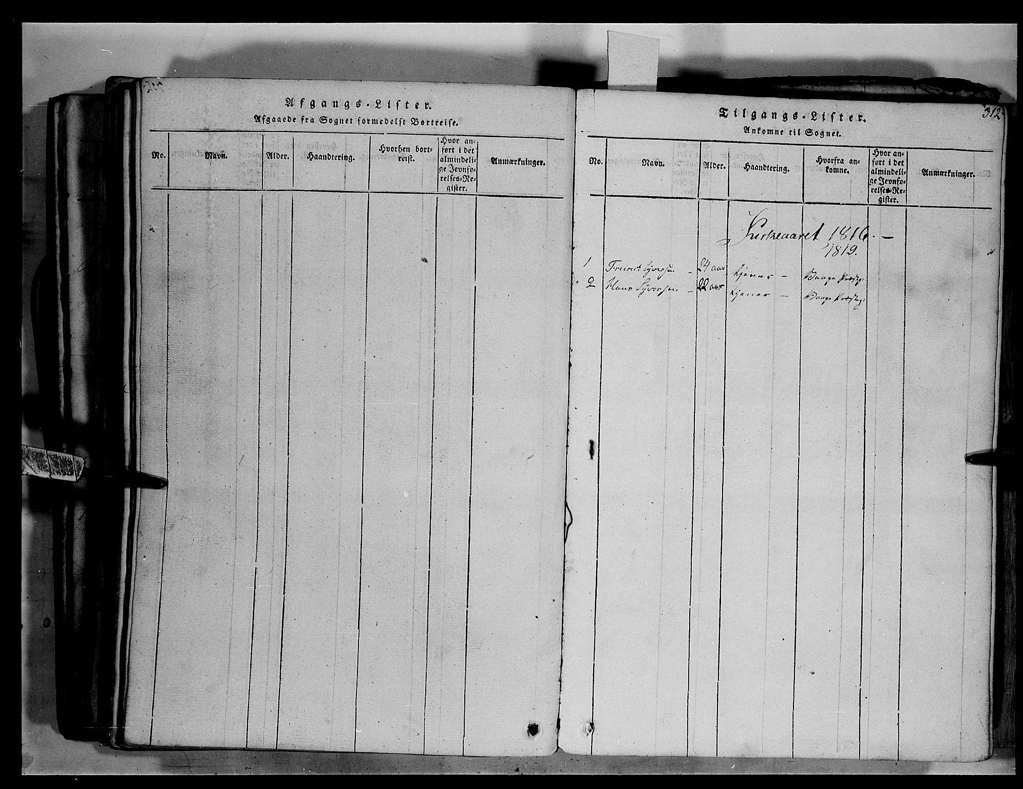 SAH, Fron prestekontor, H/Ha/Hab/L0003: Klokkerbok nr. 3, 1816-1850, s. 312