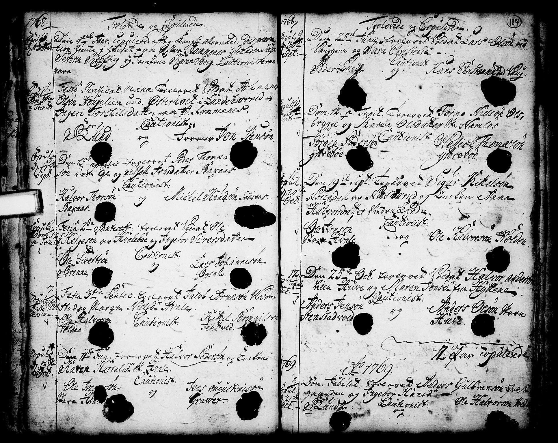 SAKO, Holla kirkebøker, F/Fa/L0001: Ministerialbok nr. 1, 1717-1779, s. 187