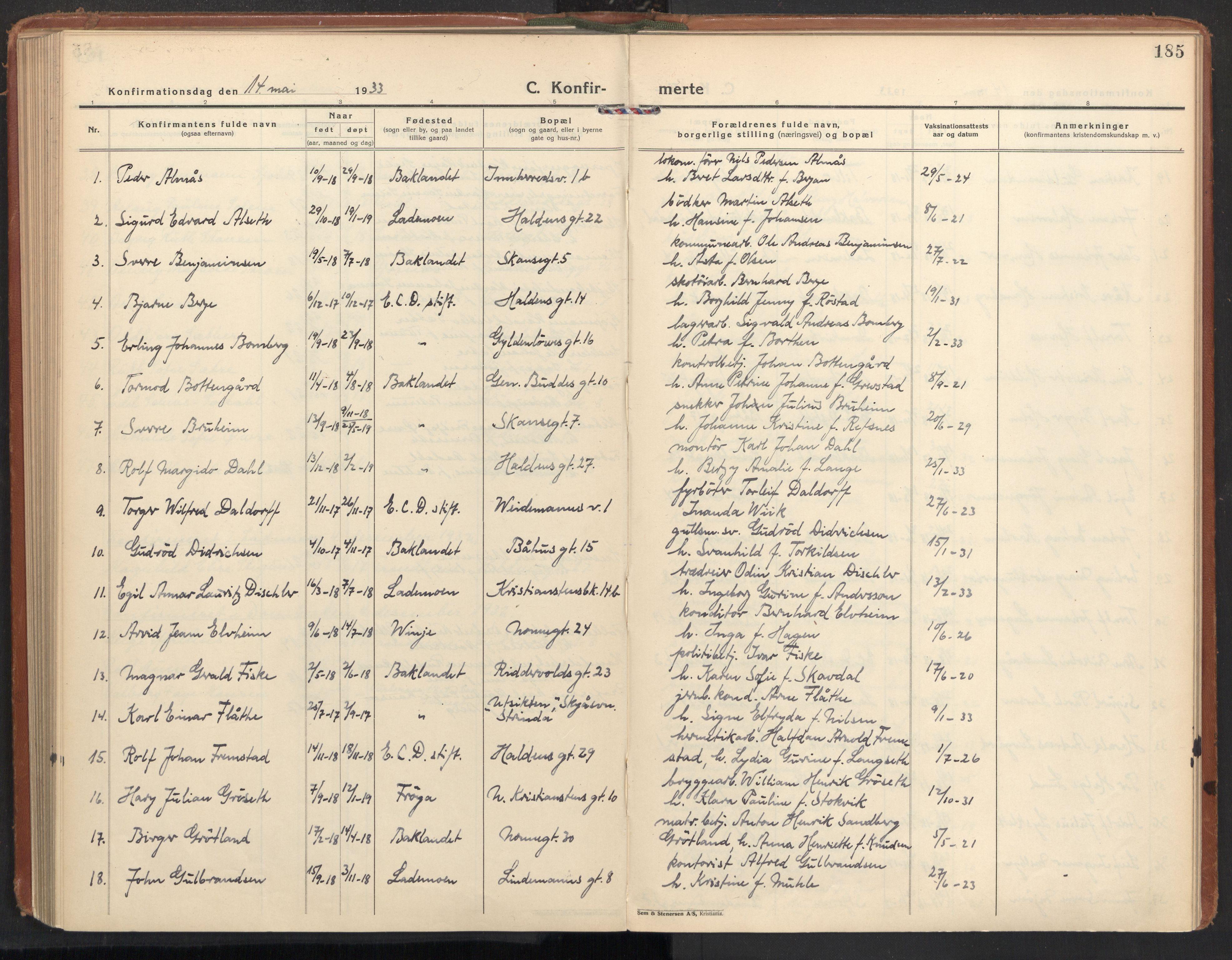 SAT, Ministerialprotokoller, klokkerbøker og fødselsregistre - Sør-Trøndelag, 604/L0208: Ministerialbok nr. 604A28, 1923-1937, s. 185