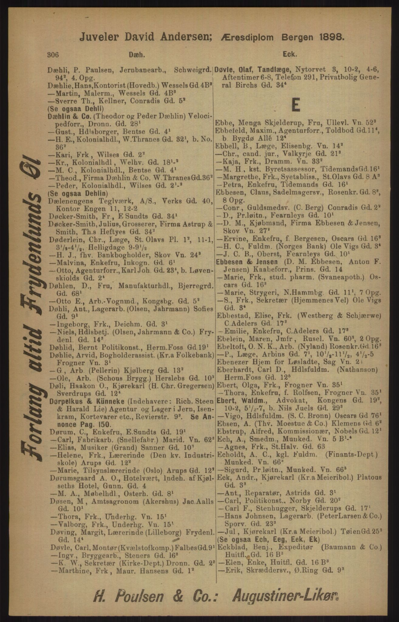RA, Kristiania adressebok (publikasjon)*, 1905, s. 306