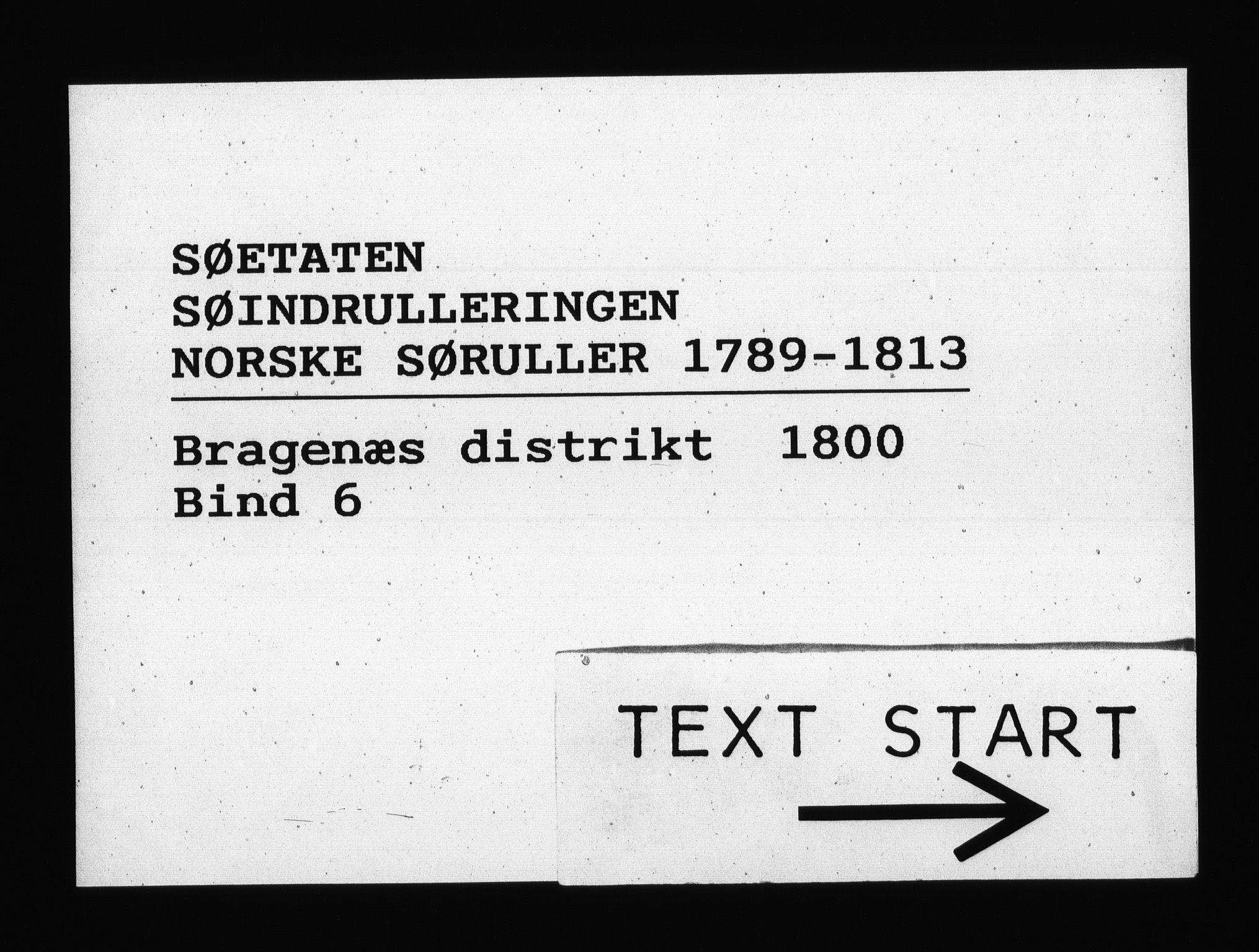 RA, Sjøetaten, F/L0133: Bragernes distrikt, bind 6, 1800