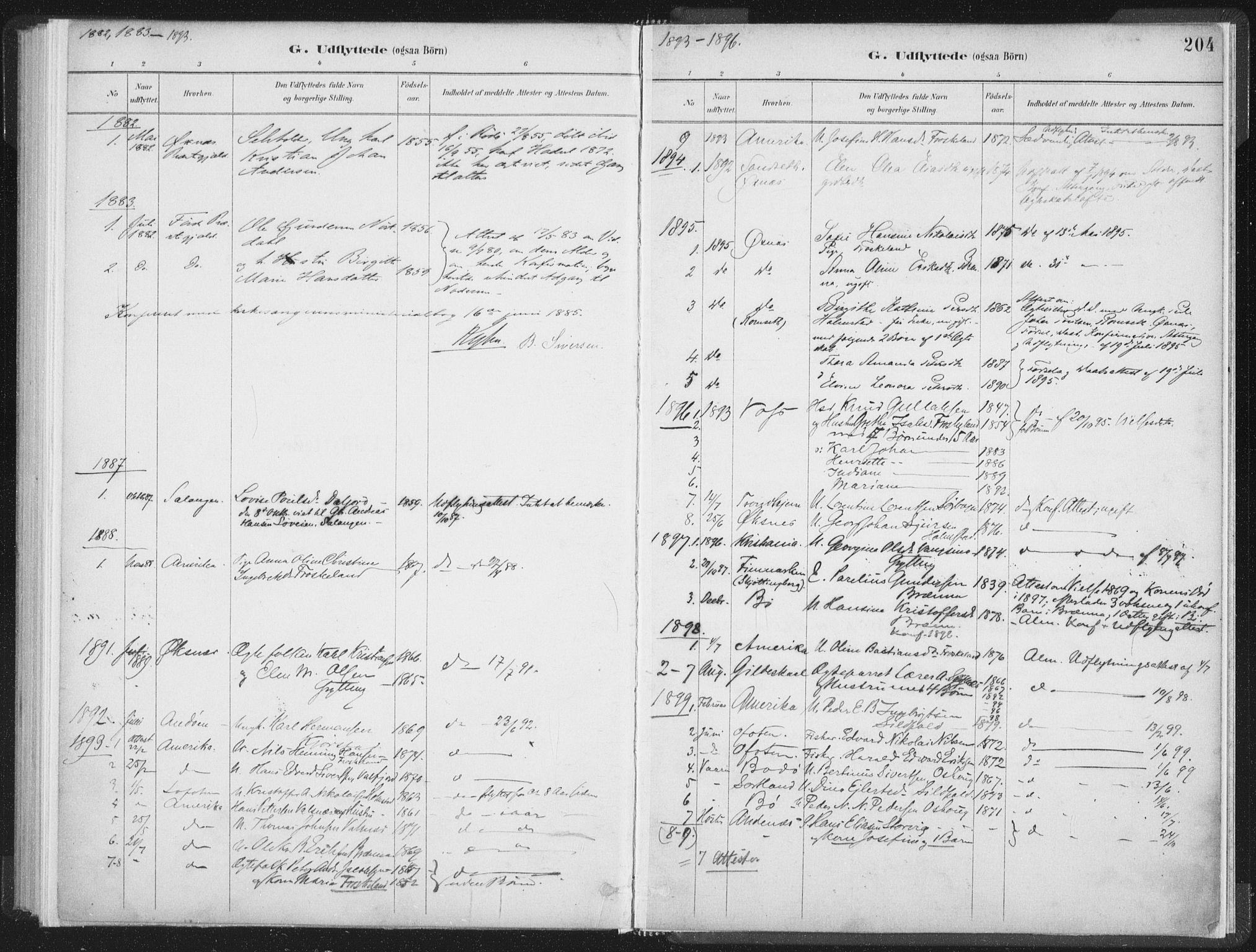 SAT, Ministerialprotokoller, klokkerbøker og fødselsregistre - Nordland, 890/L1286: Ministerialbok nr. 890A01, 1882-1902, s. 204