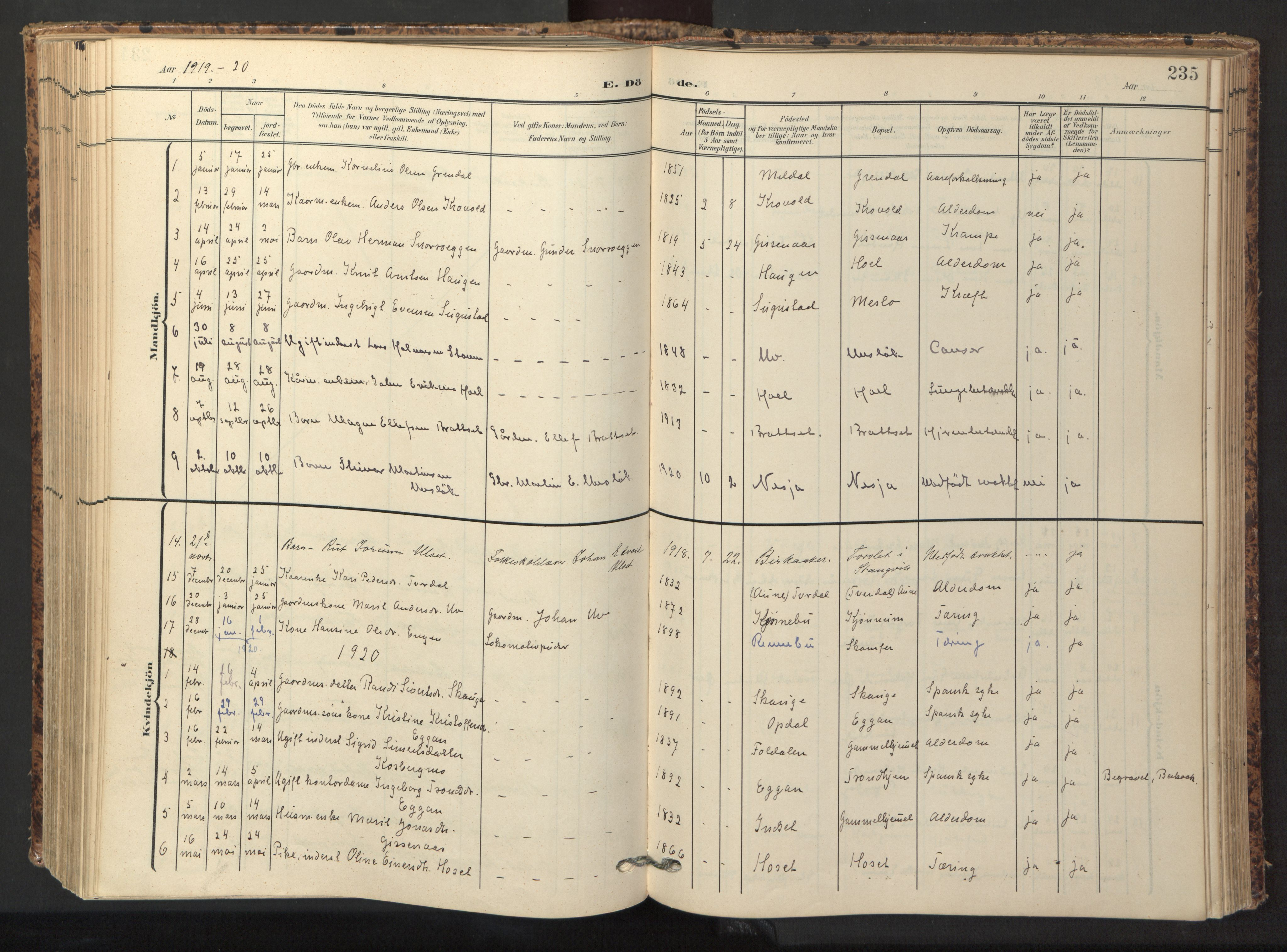 SAT, Ministerialprotokoller, klokkerbøker og fødselsregistre - Sør-Trøndelag, 674/L0873: Ministerialbok nr. 674A05, 1908-1923, s. 235