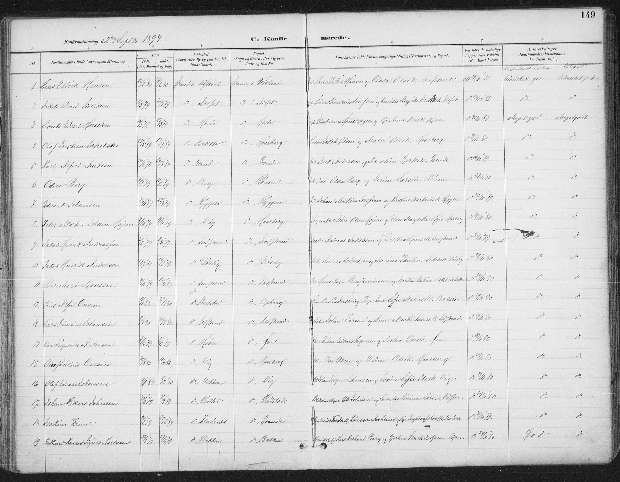 SAT, Ministerialprotokoller, klokkerbøker og fødselsregistre - Sør-Trøndelag, 659/L0743: Ministerialbok nr. 659A13, 1893-1910, s. 149