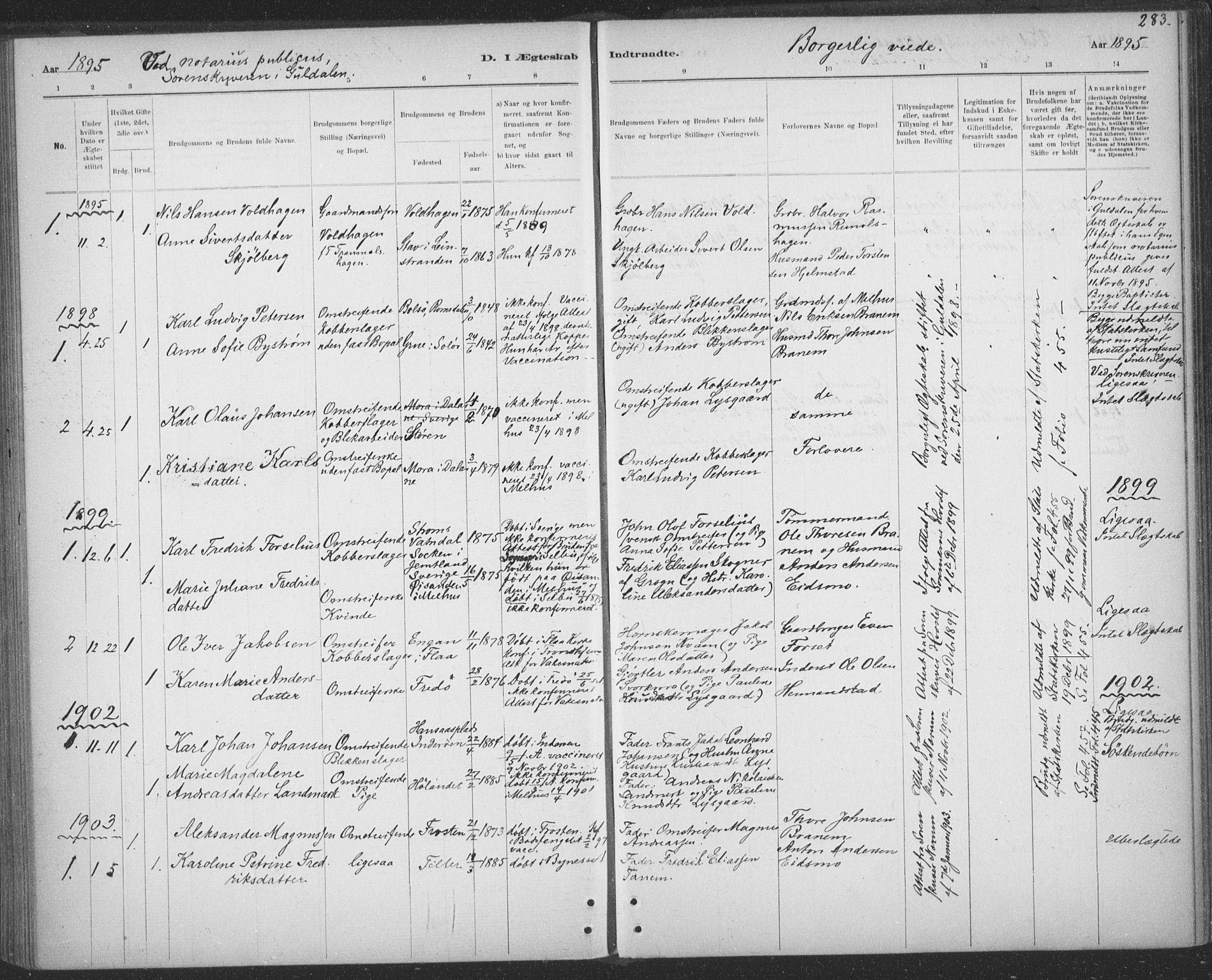 SAT, Ministerialprotokoller, klokkerbøker og fødselsregistre - Sør-Trøndelag, 691/L1085: Ministerialbok nr. 691A17, 1887-1908, s. 283