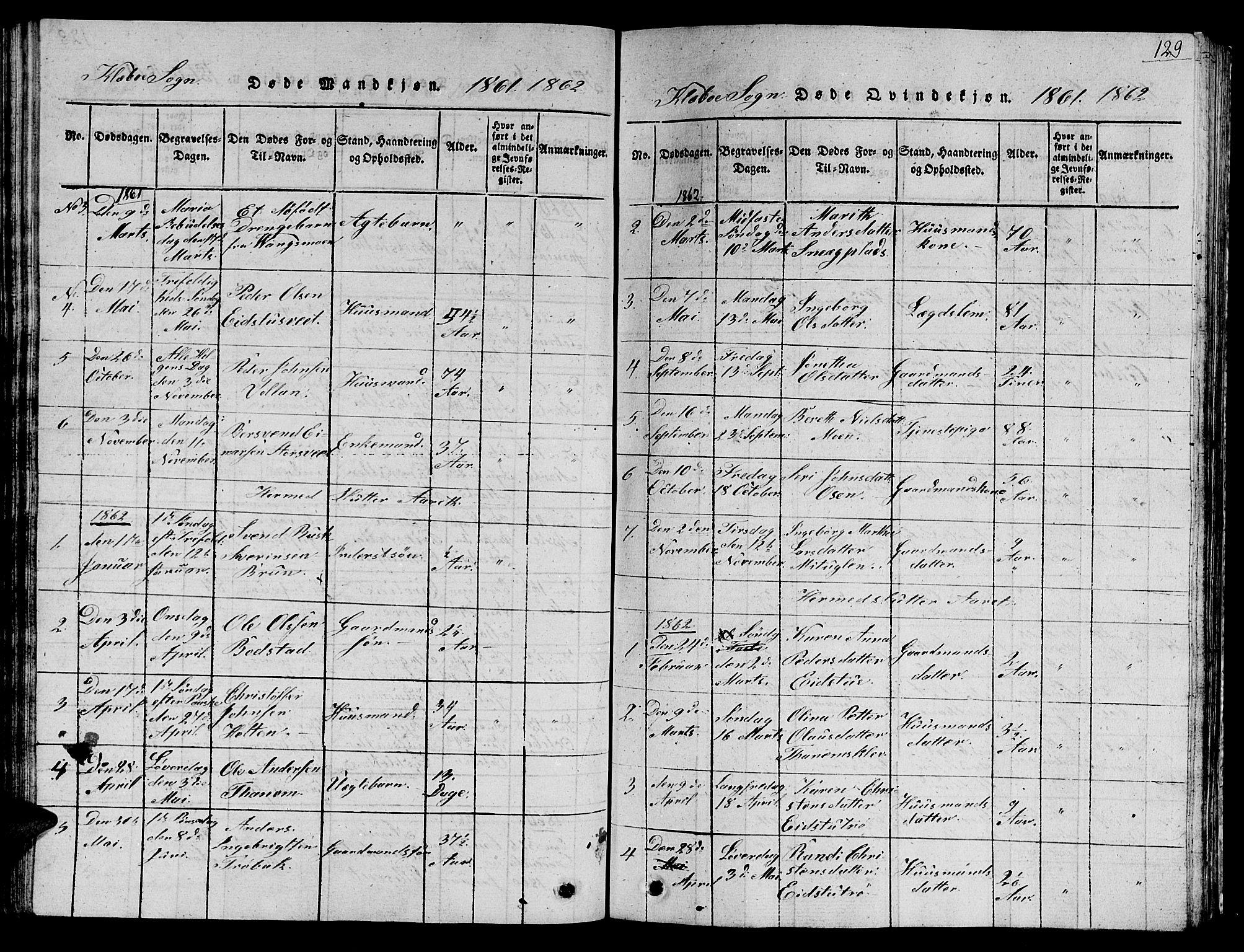 SAT, Ministerialprotokoller, klokkerbøker og fødselsregistre - Sør-Trøndelag, 618/L0450: Klokkerbok nr. 618C01, 1816-1865, s. 129