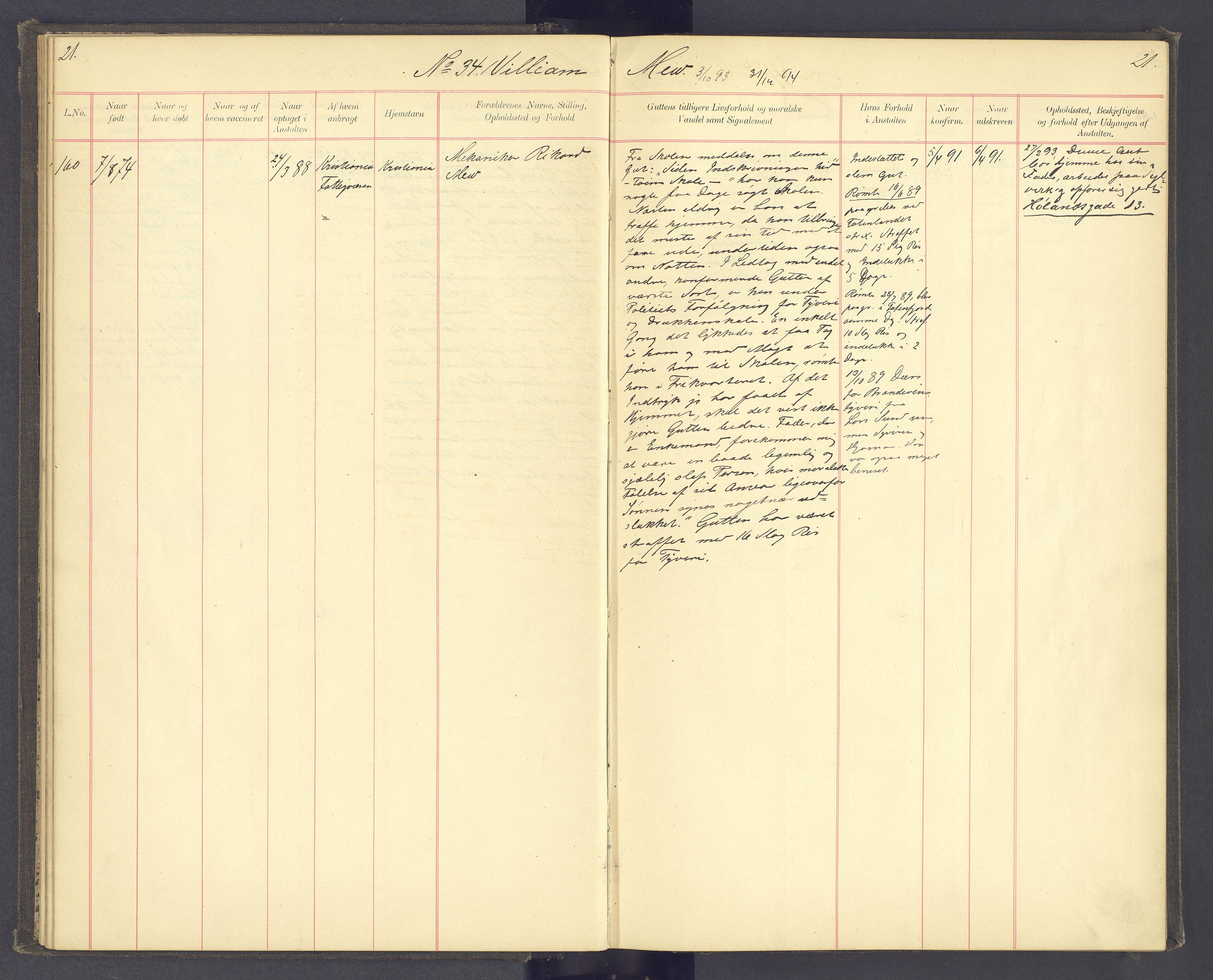 SAH, Toftes Gave, F/Fc/L0004: Elevprotokoll, 1885-1897, s. 21