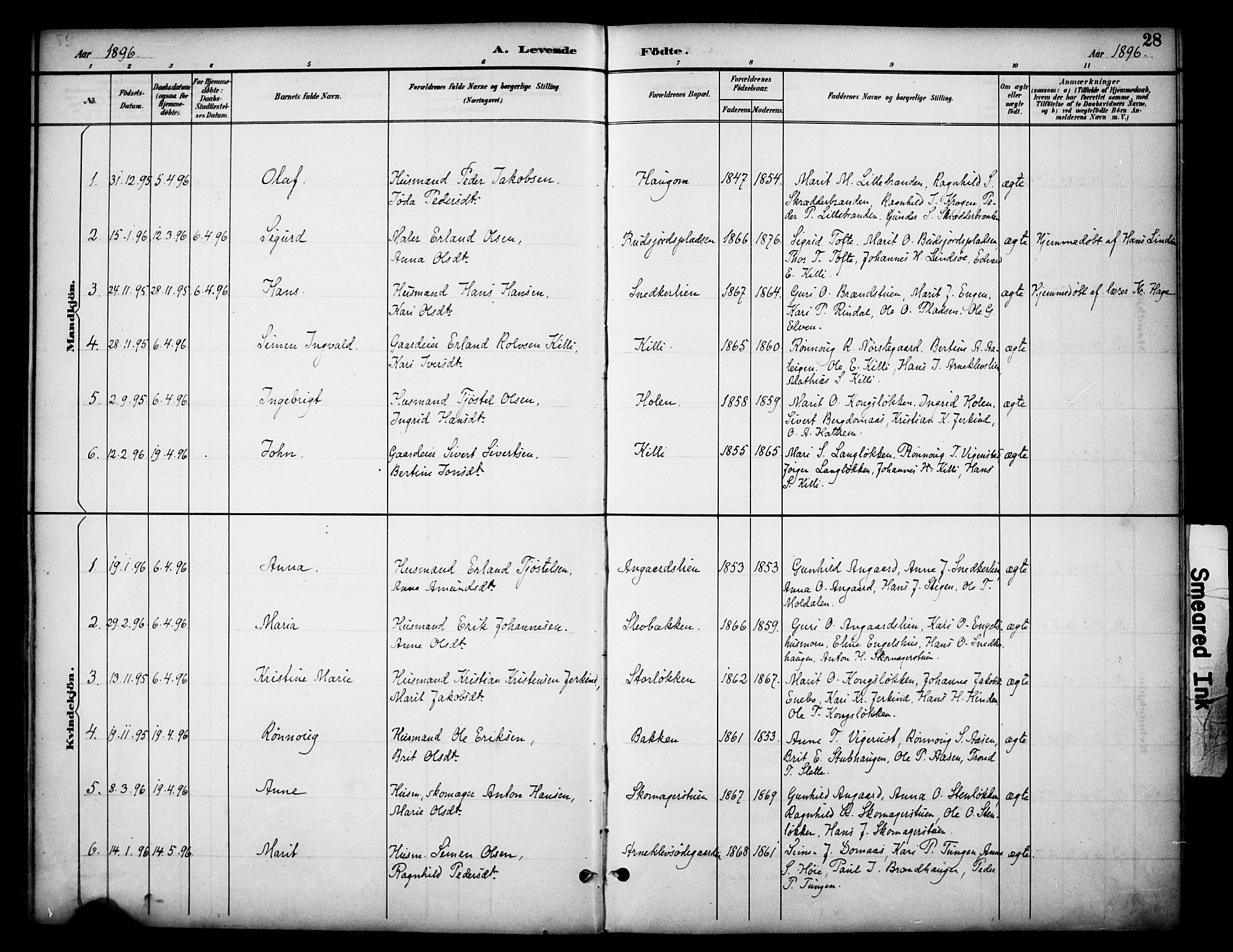 SAH, Dovre prestekontor, Ministerialbok nr. 3, 1891-1901, s. 28