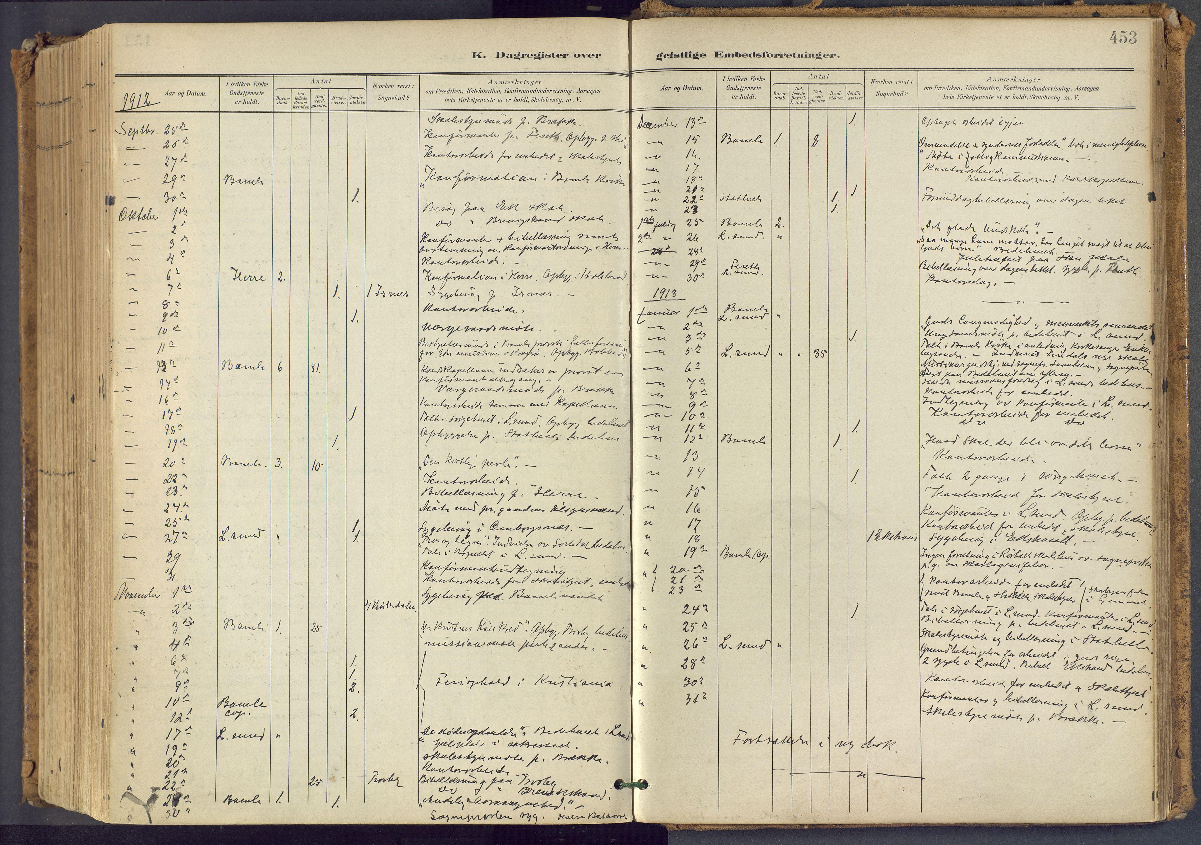 SAKO, Bamble kirkebøker, F/Fa/L0009: Ministerialbok nr. I 9, 1901-1917, s. 453