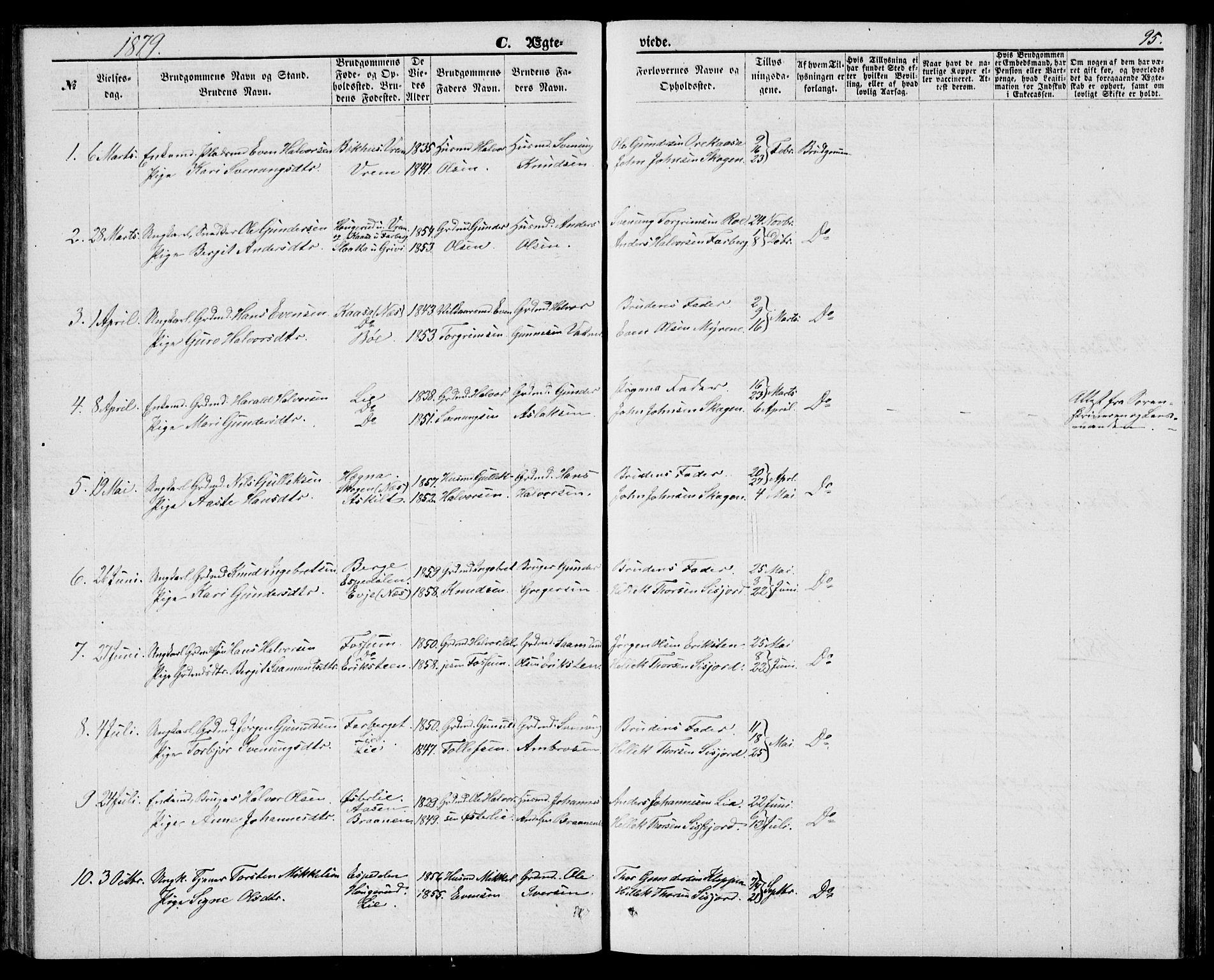 SAKO, Bø kirkebøker, G/Ga/L0004: Klokkerbok nr. 4, 1876-1882, s. 95