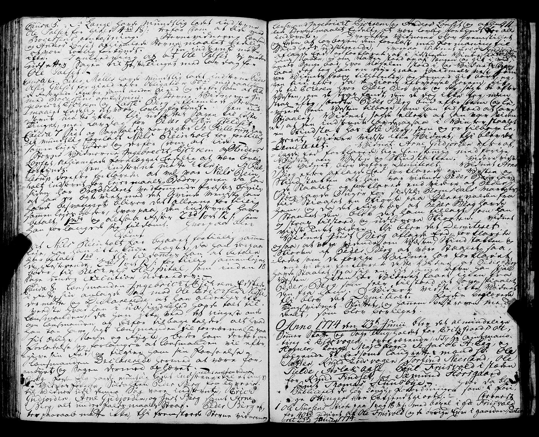 SAT, Romsdal sorenskriveri, 1/1A/L0015: Tingbok, 1765-1775, s. 410b-411a