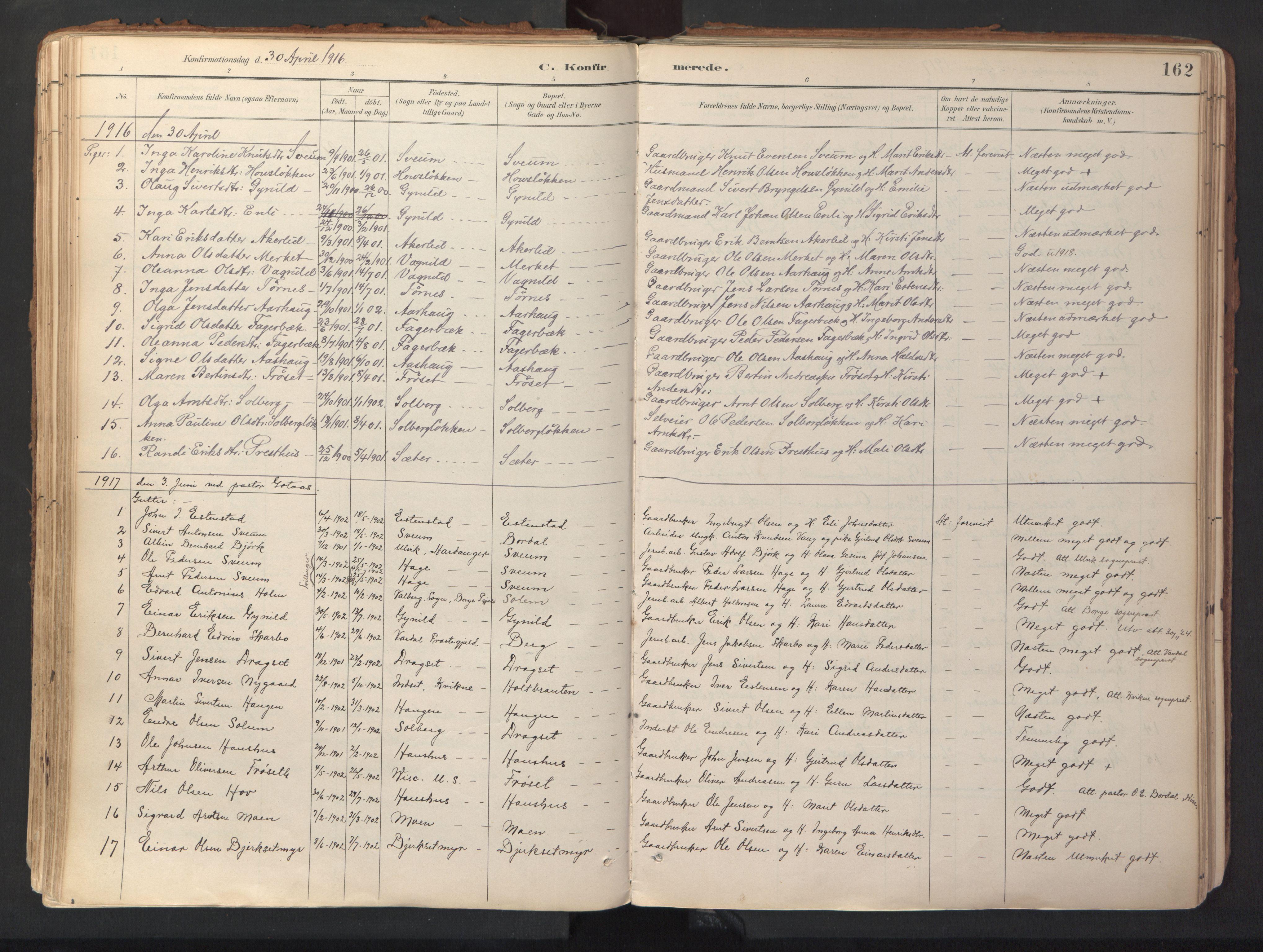 SAT, Ministerialprotokoller, klokkerbøker og fødselsregistre - Sør-Trøndelag, 689/L1041: Ministerialbok nr. 689A06, 1891-1923, s. 162