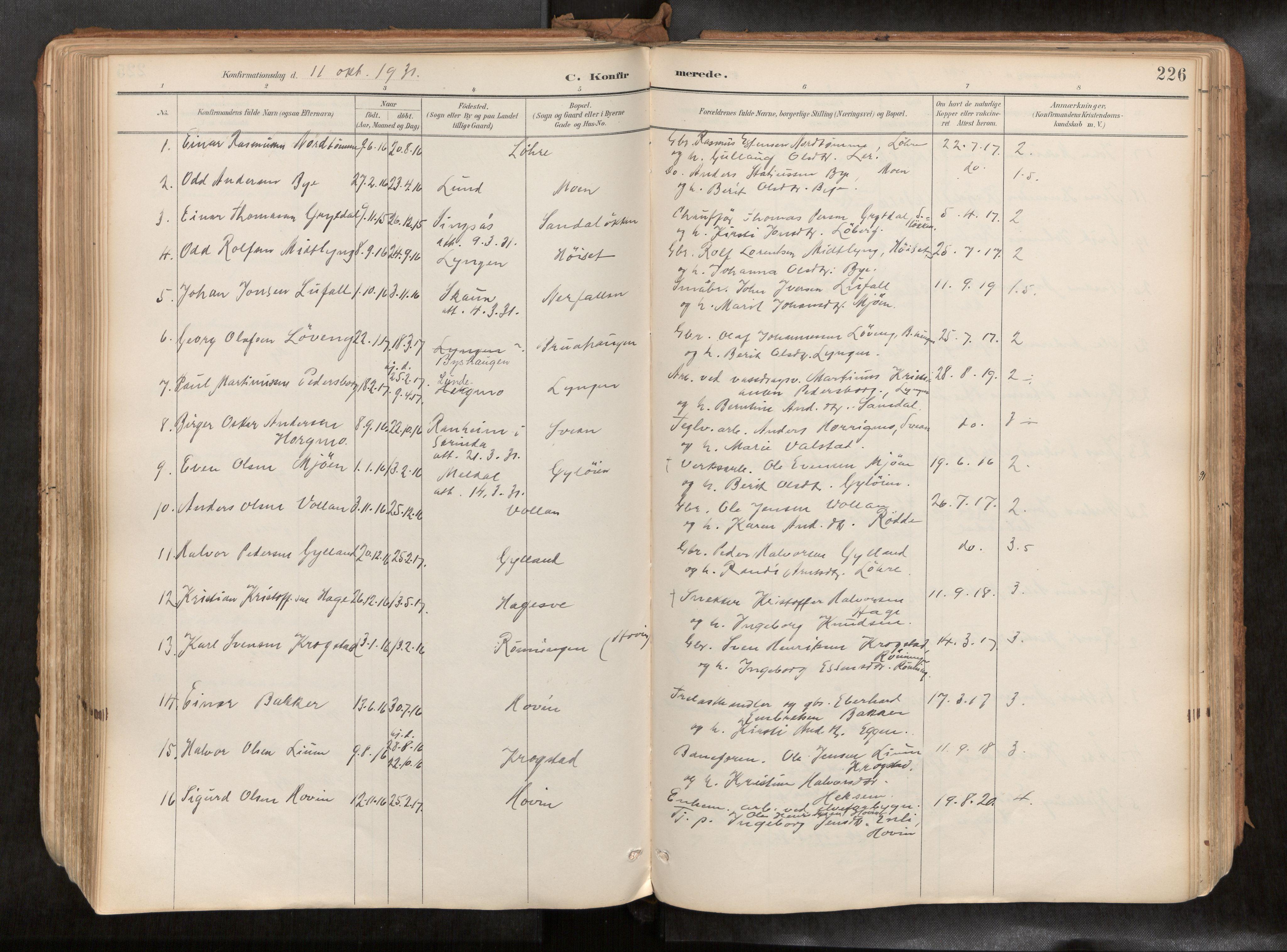 SAT, Ministerialprotokoller, klokkerbøker og fødselsregistre - Sør-Trøndelag, 692/L1105b: Ministerialbok nr. 692A06, 1891-1934, s. 226