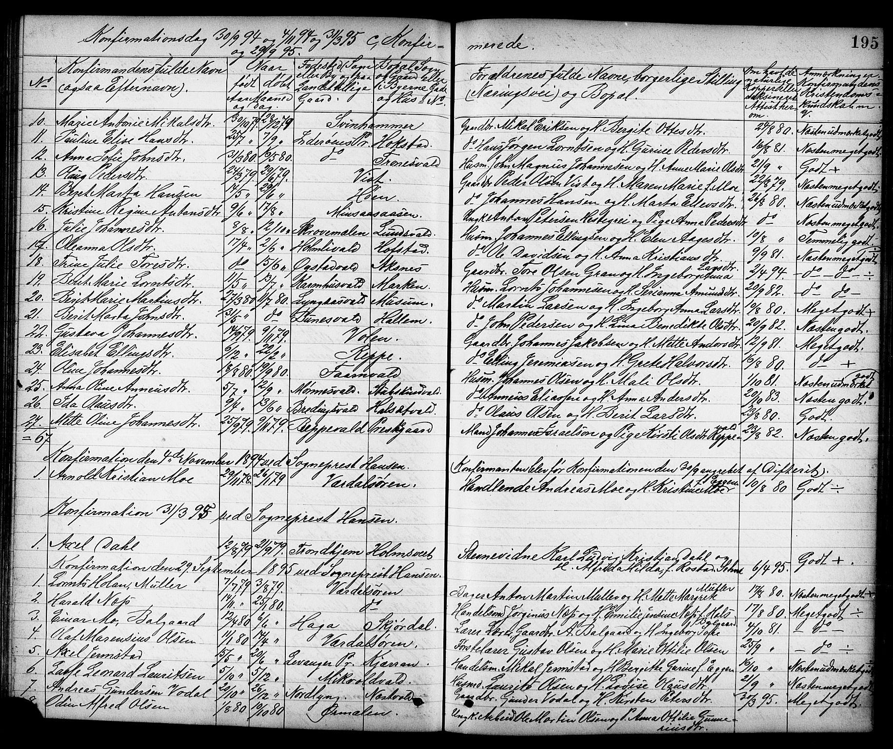 SAT, Ministerialprotokoller, klokkerbøker og fødselsregistre - Nord-Trøndelag, 723/L0257: Klokkerbok nr. 723C05, 1890-1907, s. 195