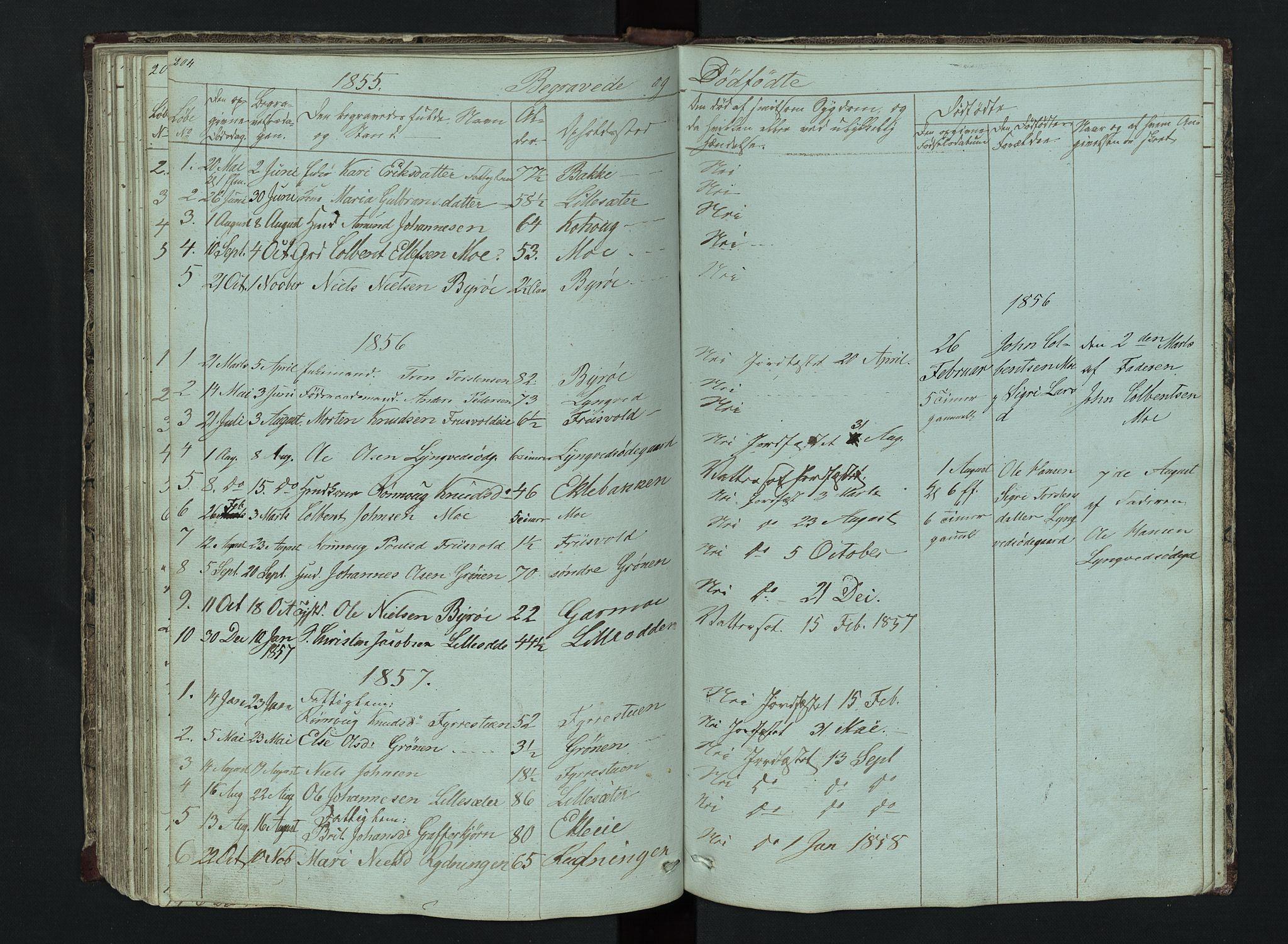 SAH, Lom prestekontor, L/L0014: Klokkerbok nr. 14, 1845-1876, s. 204-205