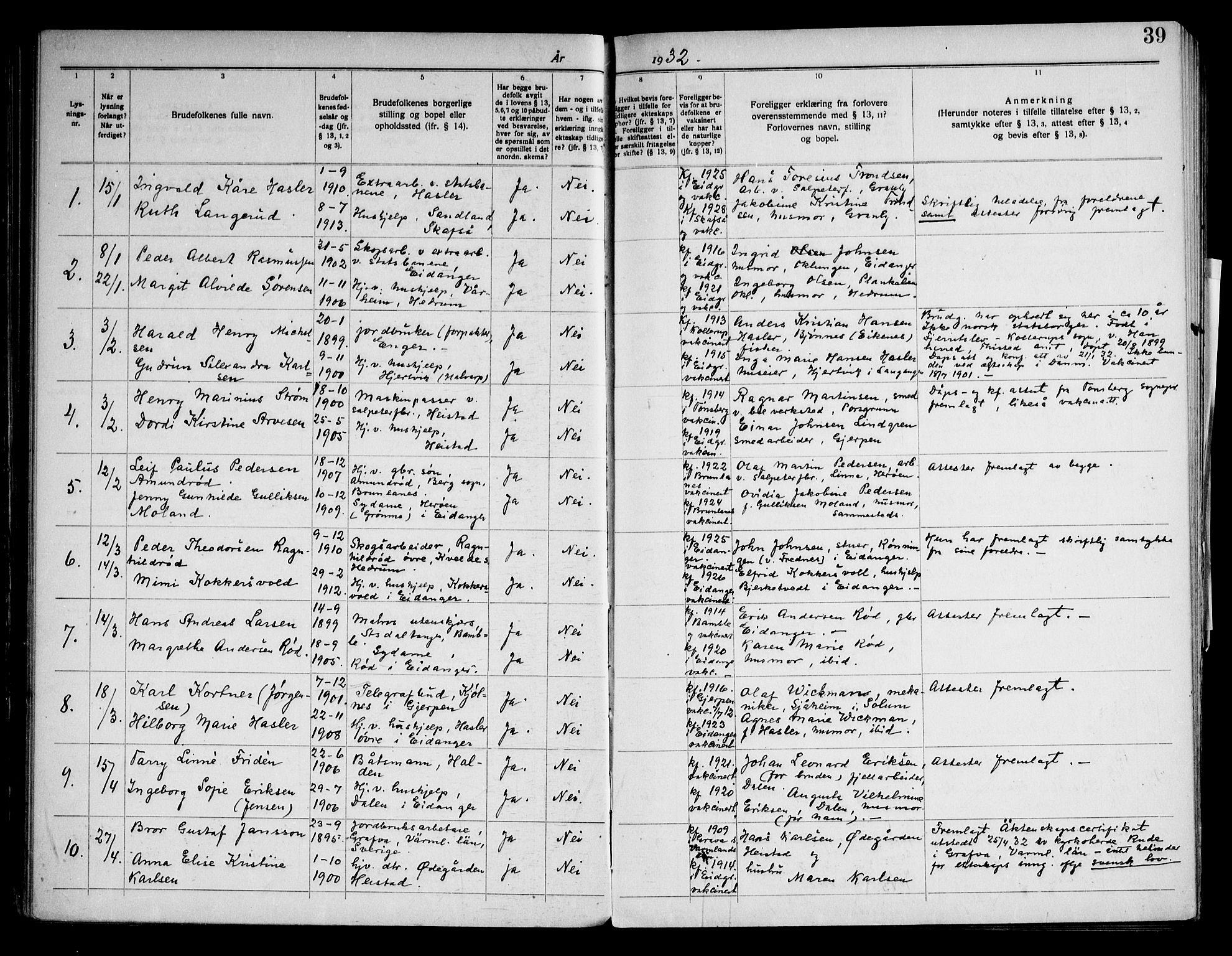 SAKO, Eidanger kirkebøker, H/Ha/L0003: Lysningsprotokoll nr. 3, 1919-1948, s. 39