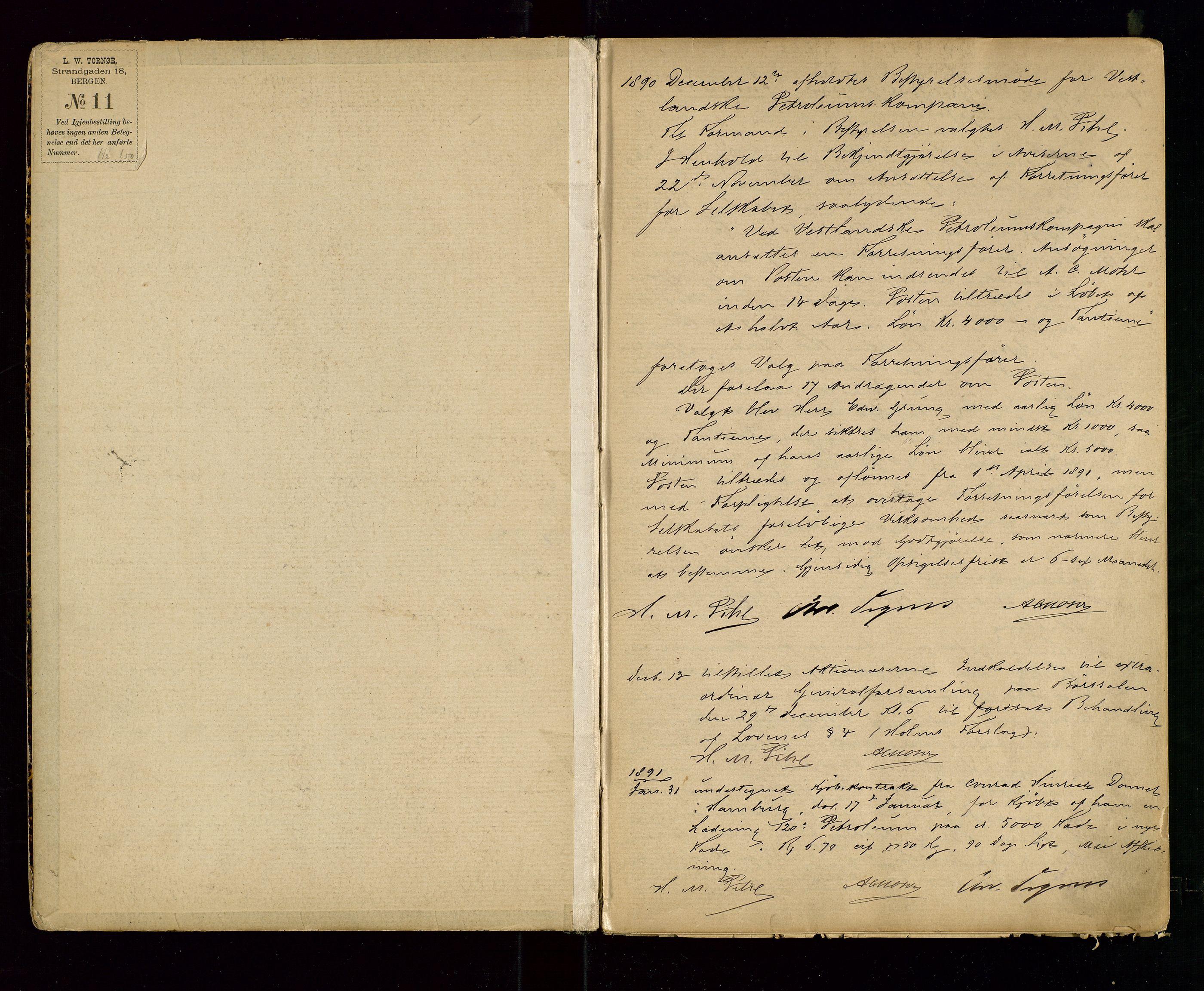 SAST, PA 1533 - A/S Vestlandske Petroleumscompani, A/Aa/L0001: Generalforsamlinger og styreprotokoller, 1890-1907, s. 2