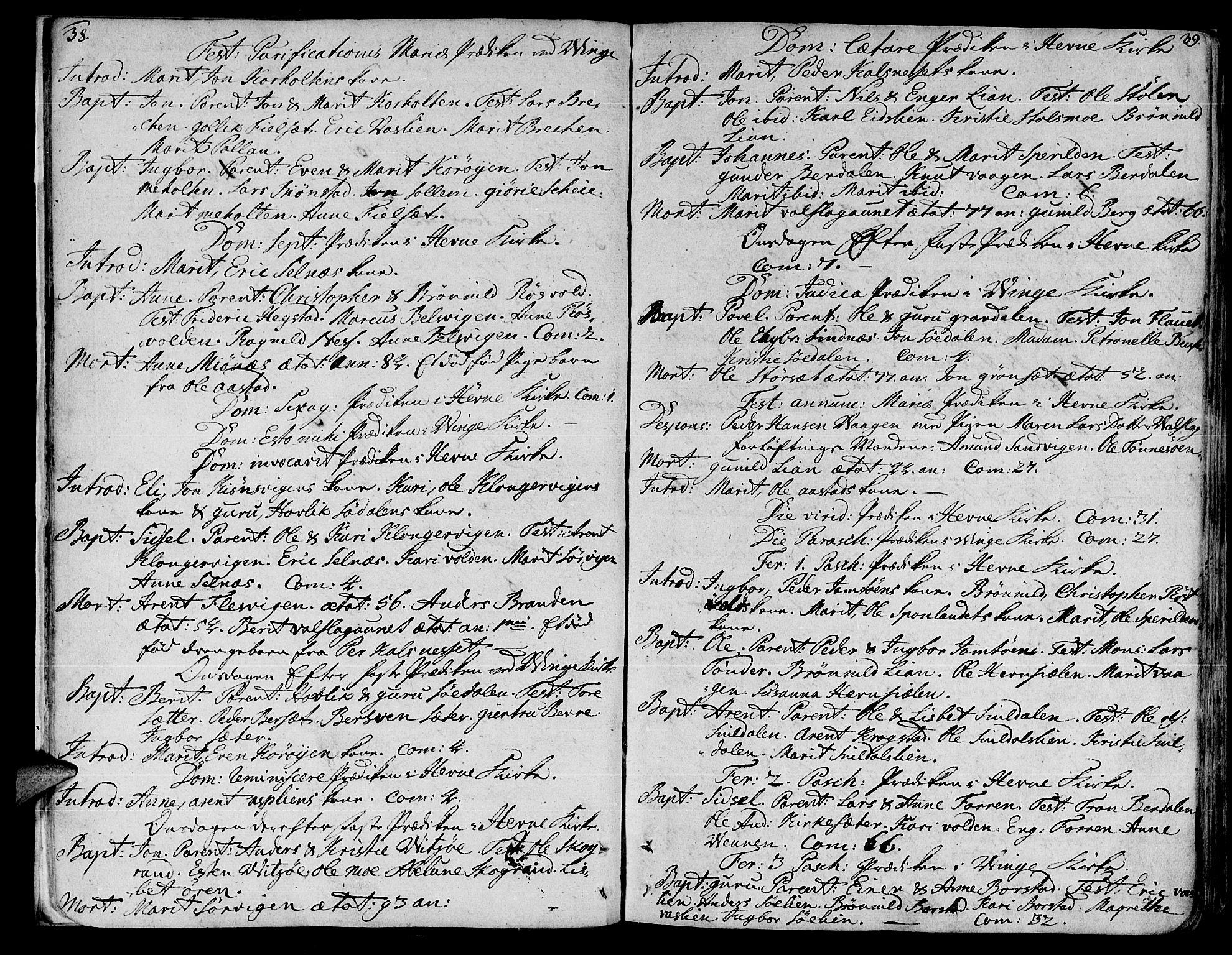 SAT, Ministerialprotokoller, klokkerbøker og fødselsregistre - Sør-Trøndelag, 630/L0489: Ministerialbok nr. 630A02, 1757-1794, s. 38-39
