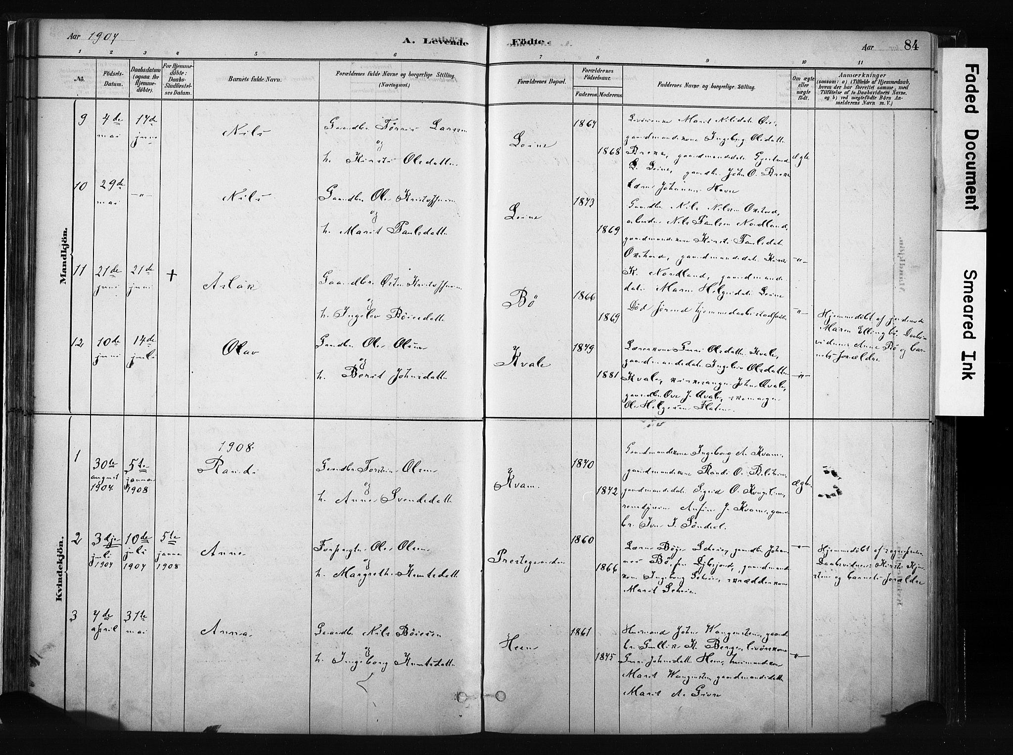SAH, Vang prestekontor, Valdres, Ministerialbok nr. 8, 1882-1910, s. 84