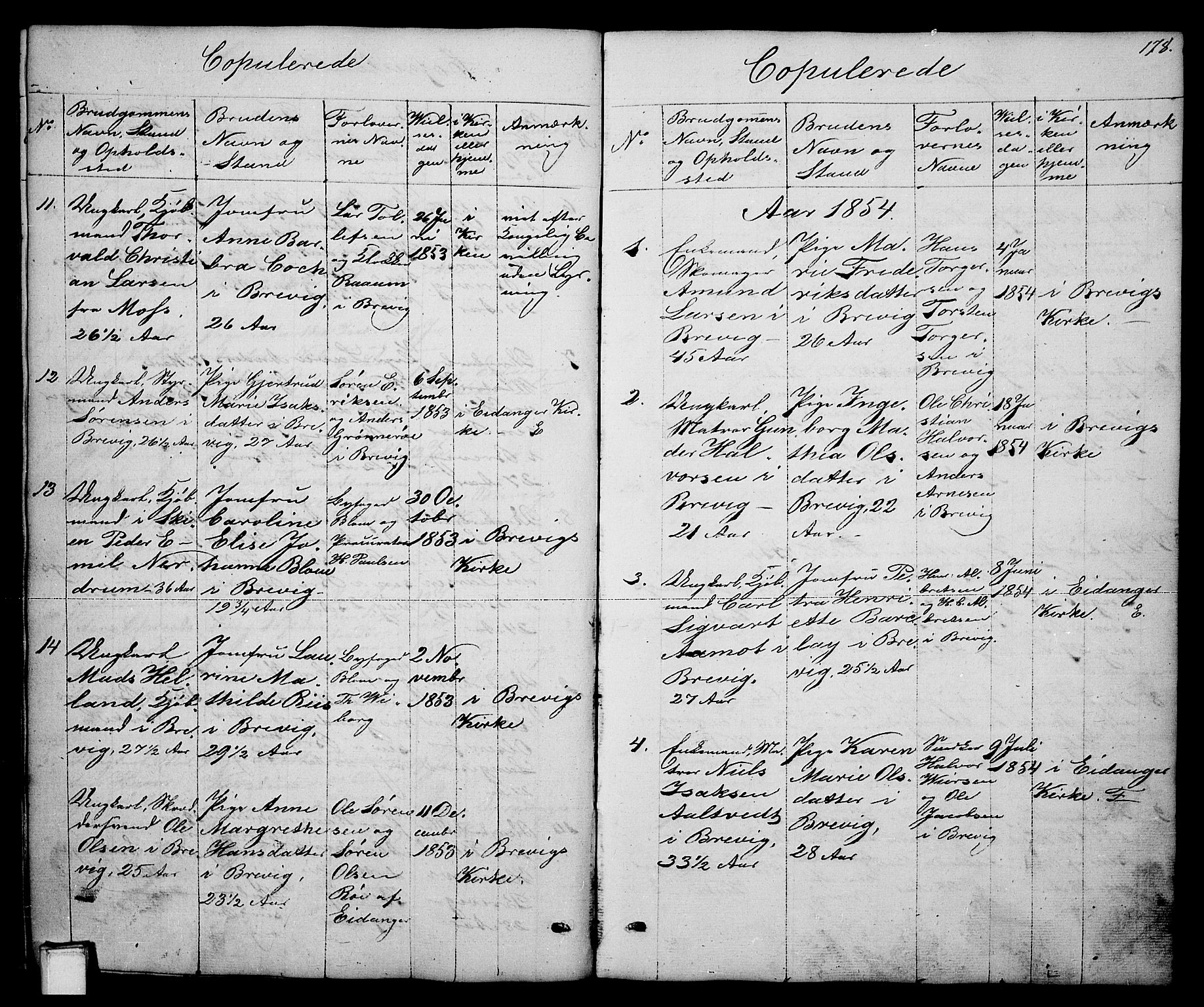 SAKO, Brevik kirkebøker, G/Ga/L0002: Klokkerbok nr. 2, 1846-1865, s. 178