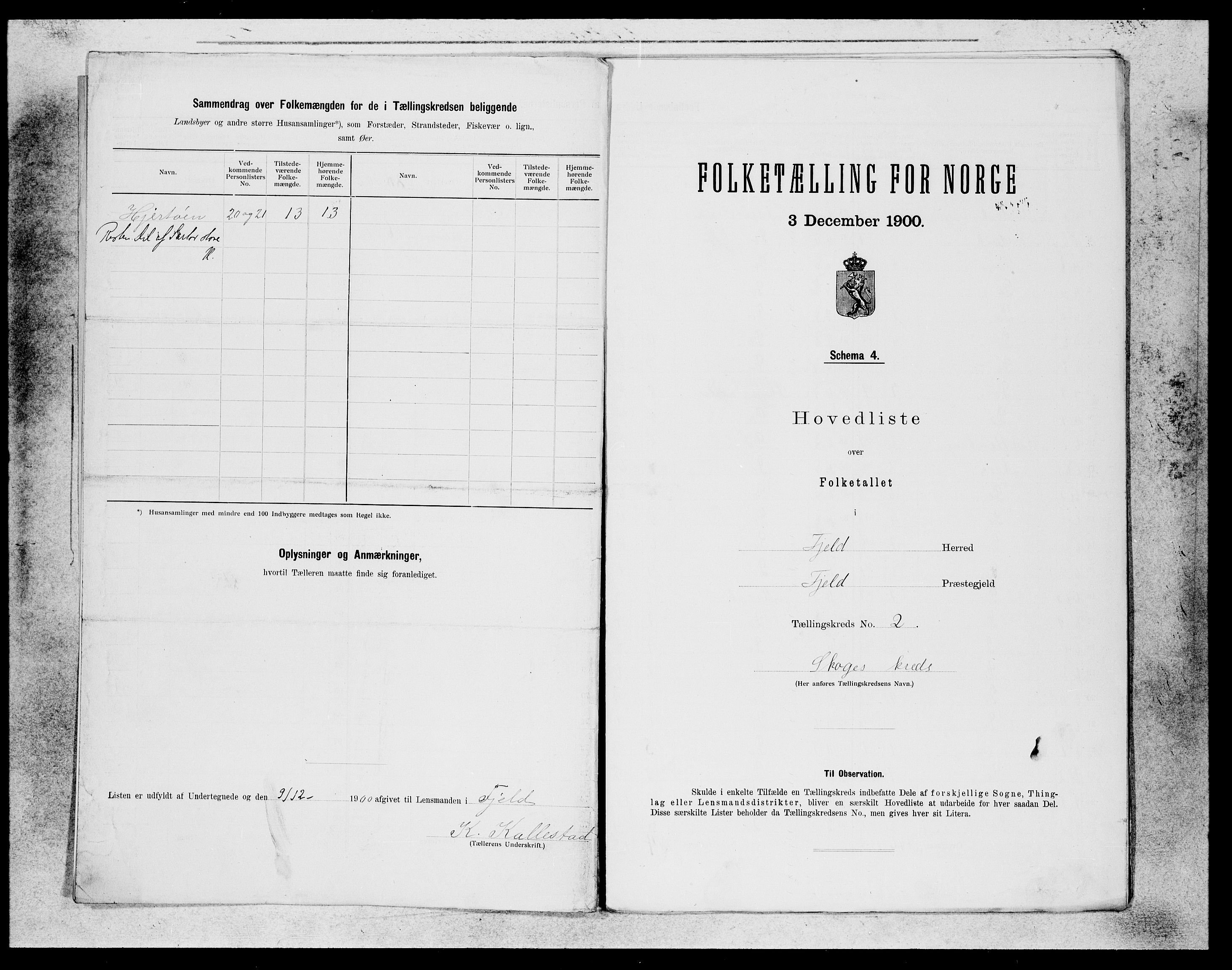 SAB, Folketelling 1900 for 1246 Fjell herred, 1900, s. 3