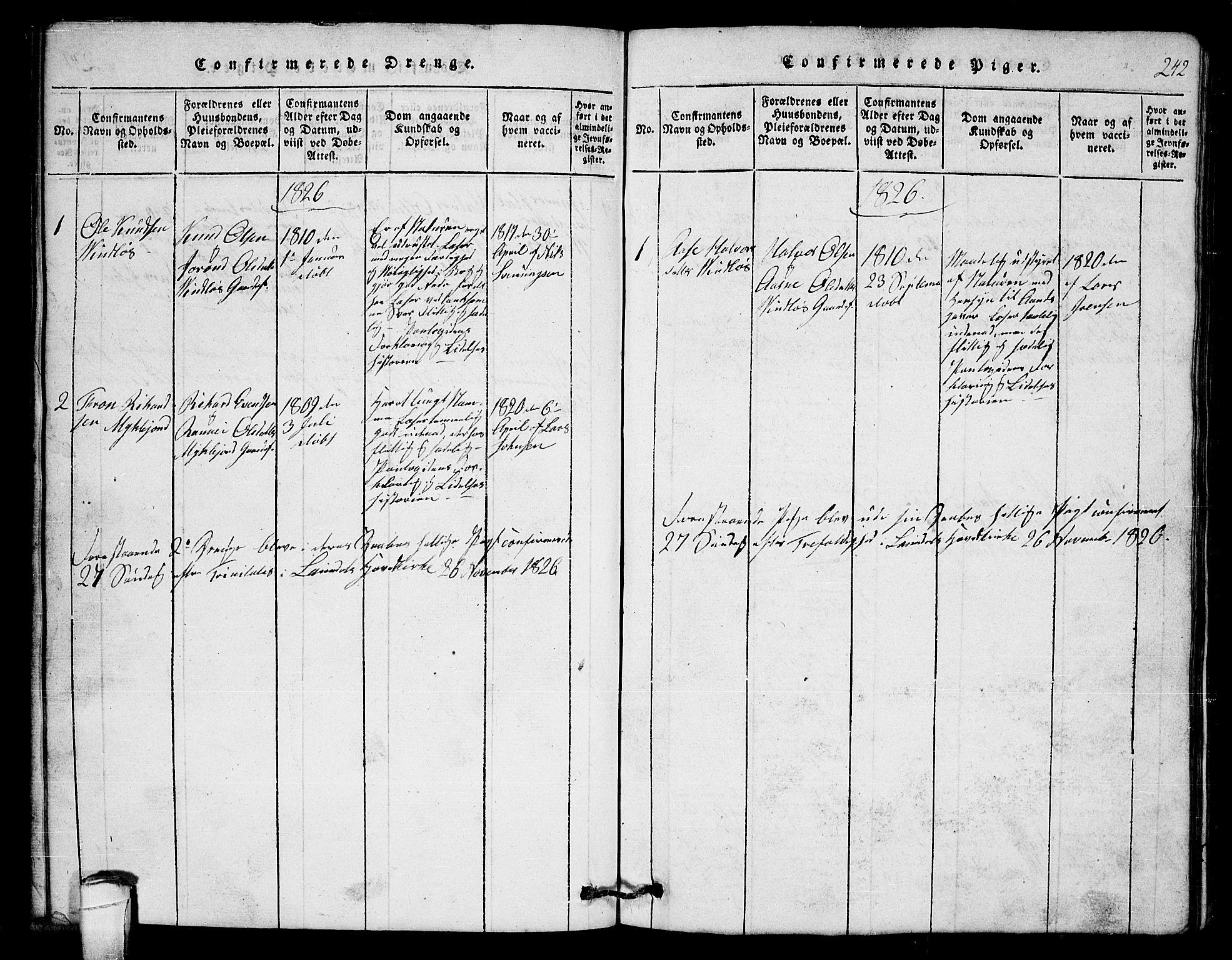 SAKO, Lårdal kirkebøker, G/Gb/L0001: Klokkerbok nr. II 1, 1815-1865, s. 242