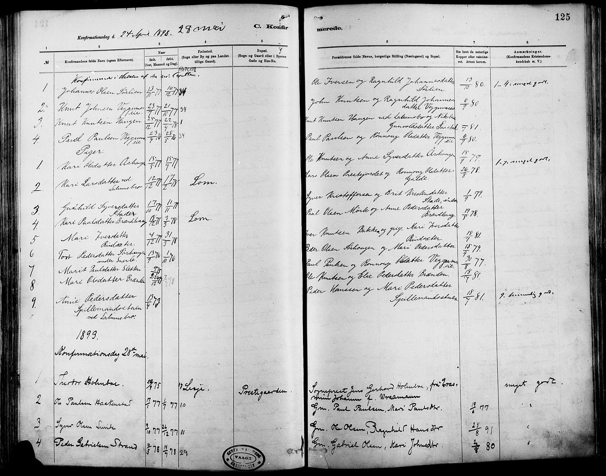SAH, Vågå prestekontor, Ministerialbok nr. 9, 1886-1904, s. 125