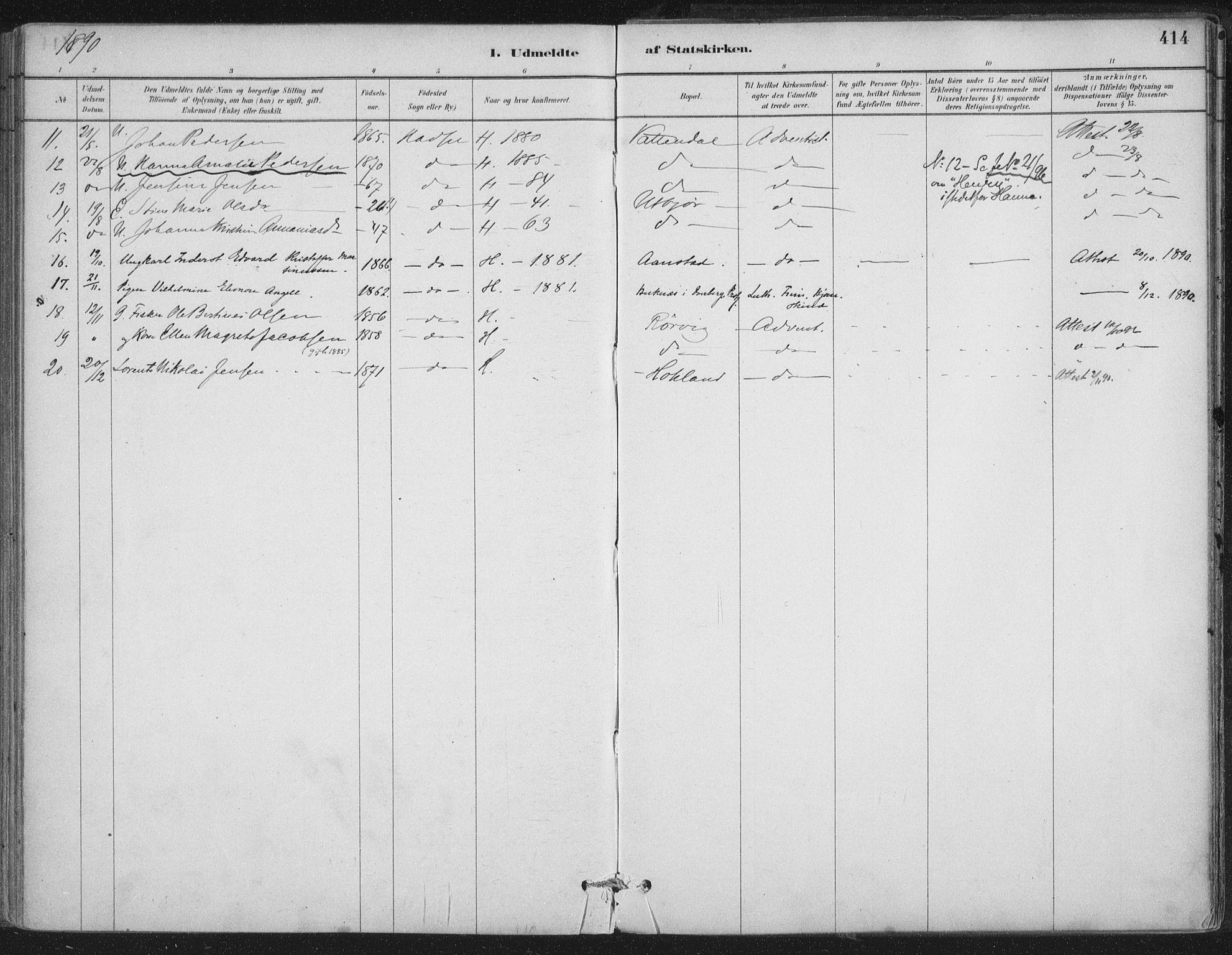 SAT, Ministerialprotokoller, klokkerbøker og fødselsregistre - Nordland, 888/L1244: Ministerialbok nr. 888A10, 1880-1890, s. 414