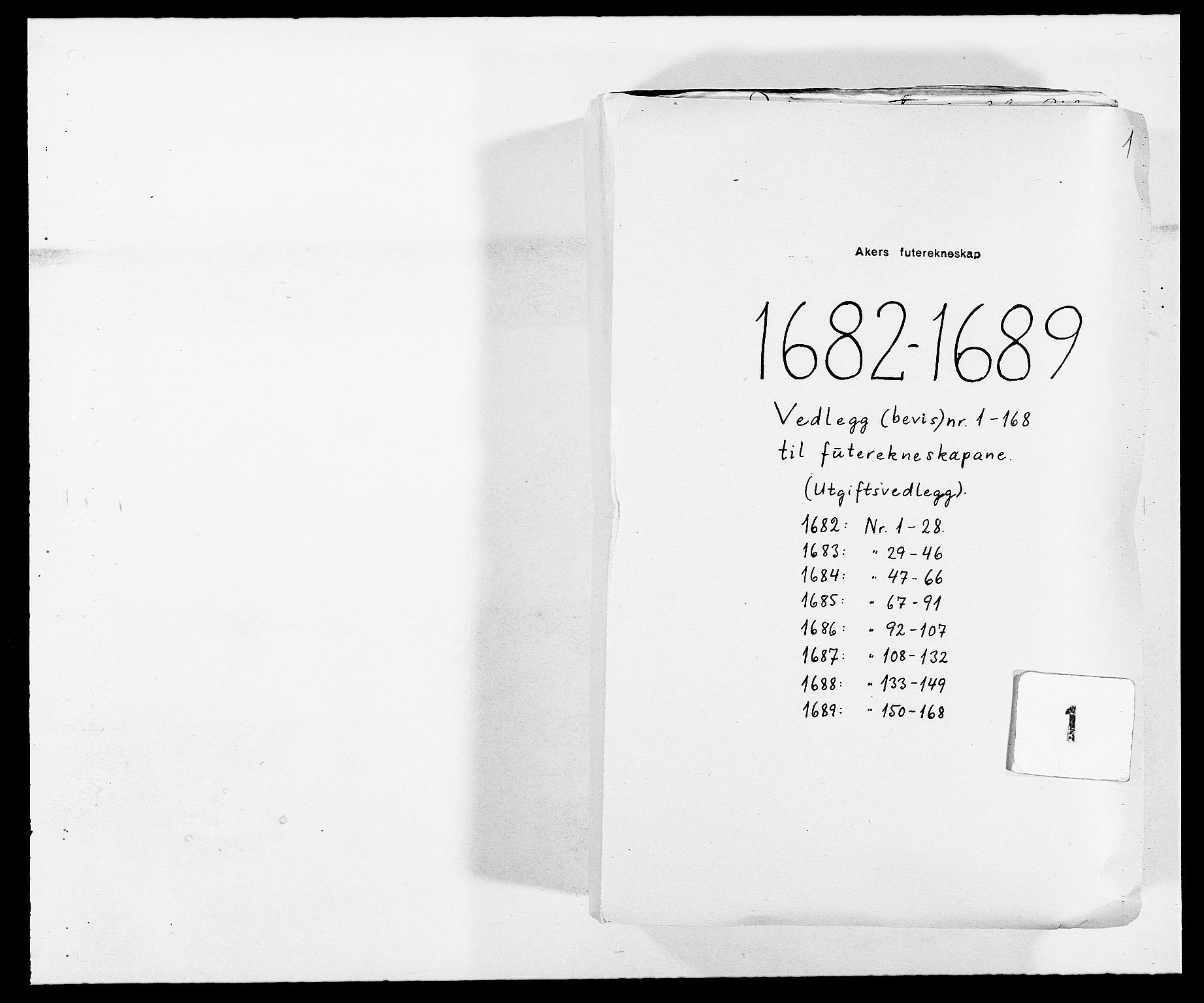 RA, Rentekammeret inntil 1814, Reviderte regnskaper, Fogderegnskap, R08/L0424: Fogderegnskap Aker, 1682-1689, s. 1