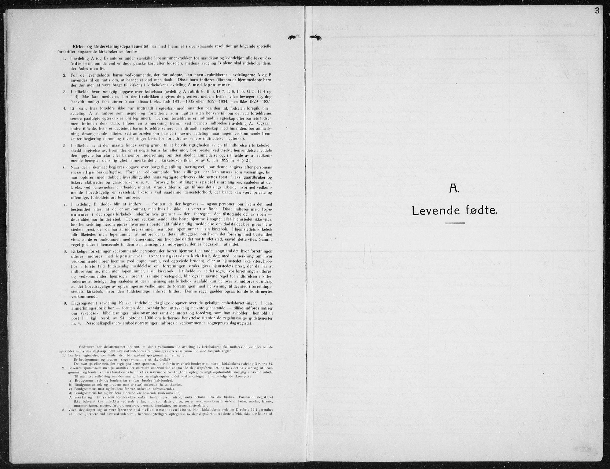 SAH, Biri prestekontor, Klokkerbok nr. 6, 1909-1938, s. 3