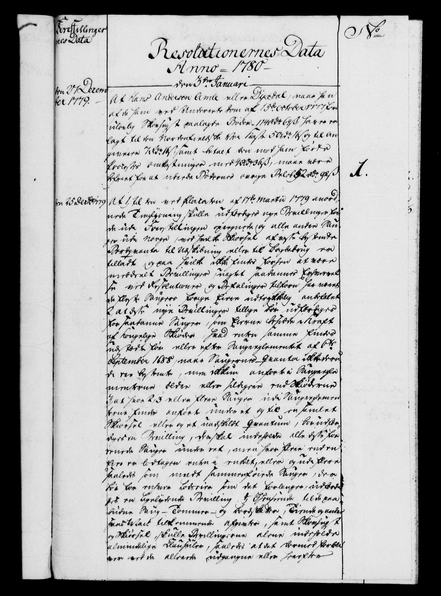 RA, Rentekammeret, Kammerkanselliet, G/Gf/Gfb/L0009: Register til norske relasjons- og resolusjonsprotokoller (merket RK 52.104), 1773-1780, s. 181