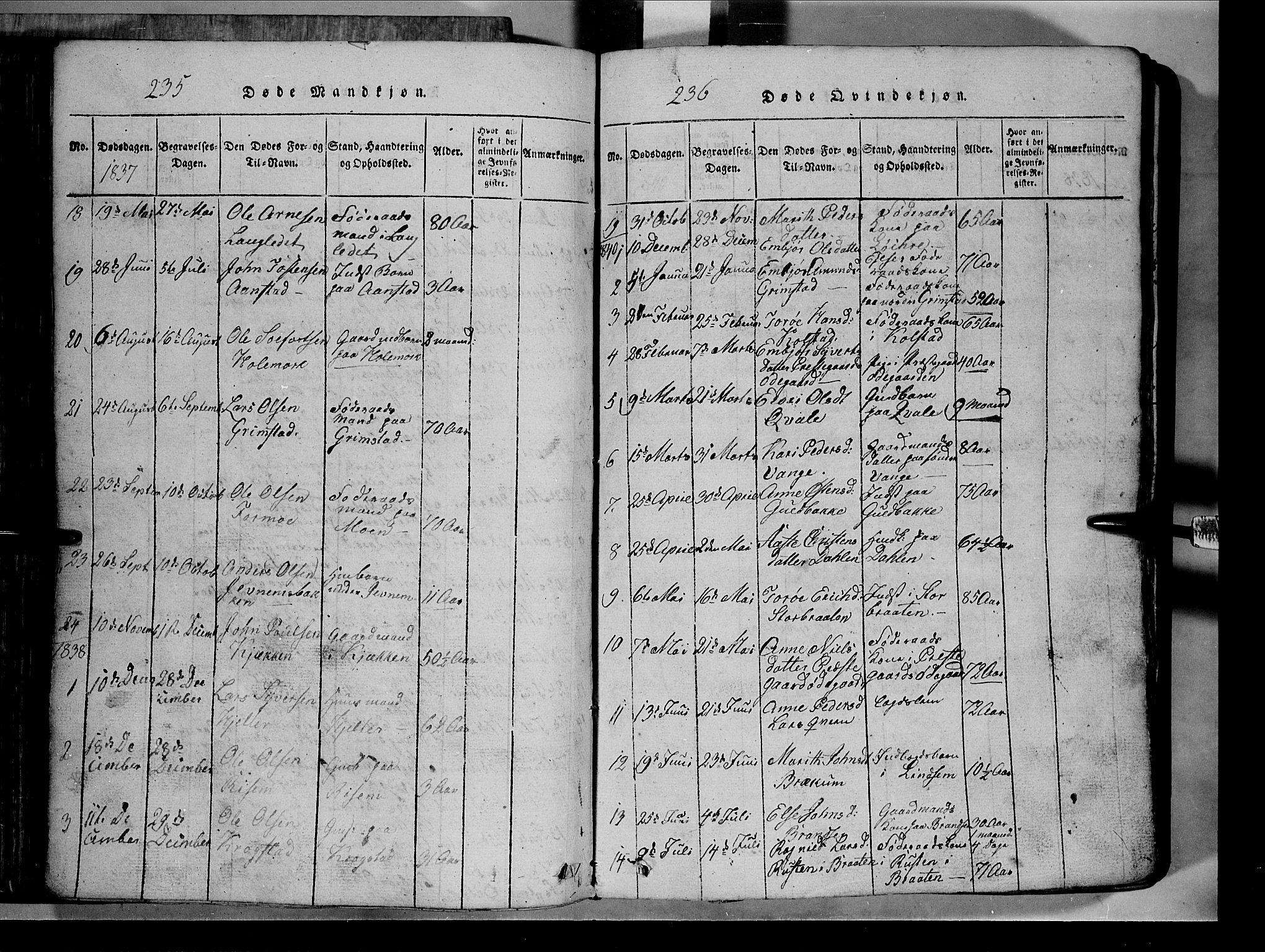SAH, Lom prestekontor, L/L0003: Klokkerbok nr. 3, 1815-1844, s. 235-236