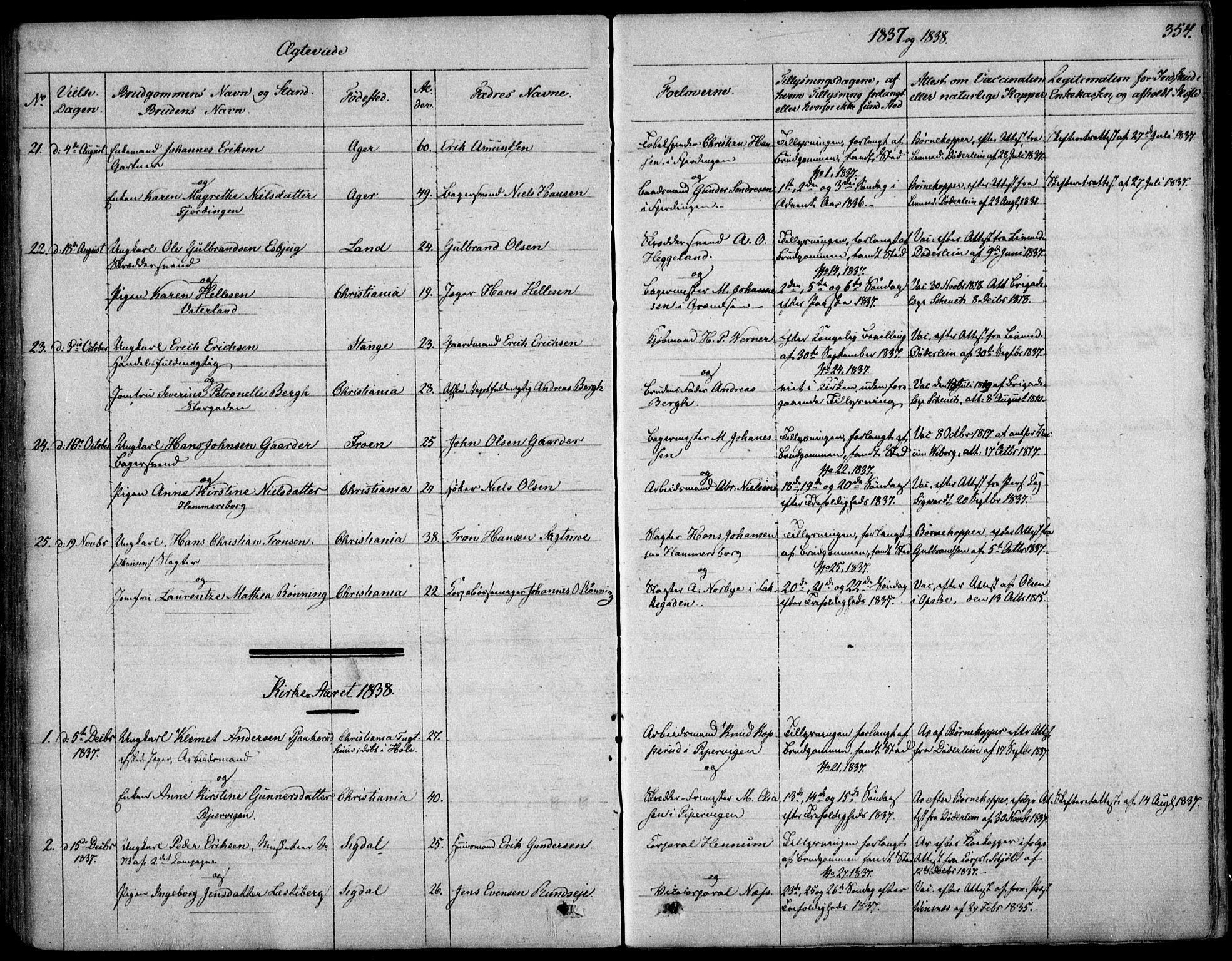 SAO, Garnisonsmenigheten Kirkebøker, F/Fa/L0006: Ministerialbok nr. 6, 1828-1841, s. 354