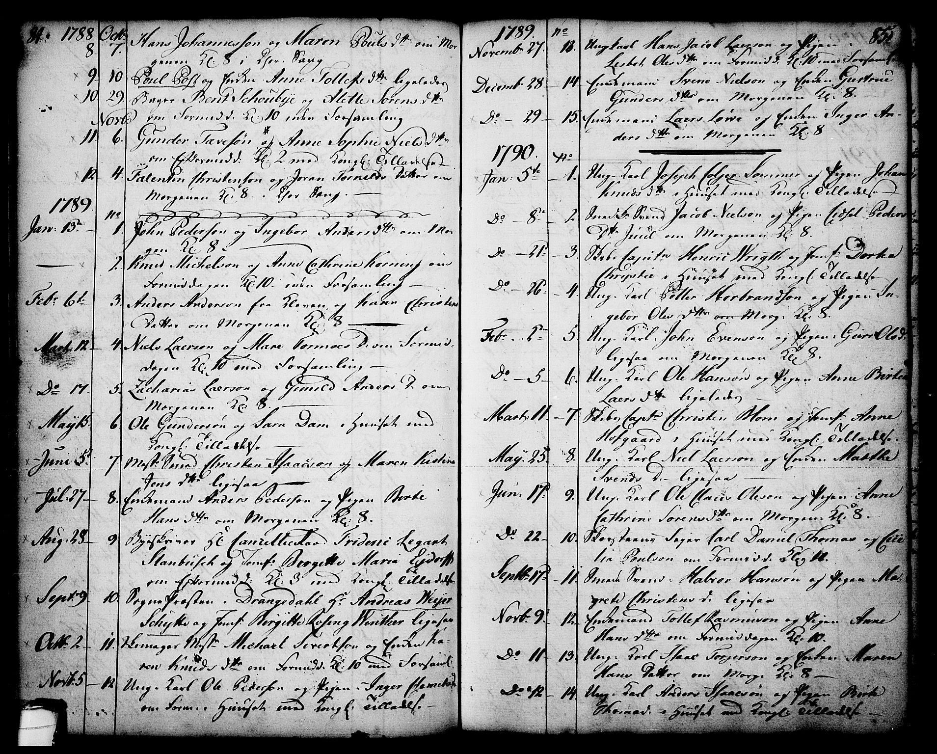 SAKO, Skien kirkebøker, F/Fa/L0003: Ministerialbok nr. 3, 1755-1791, s. 84-85