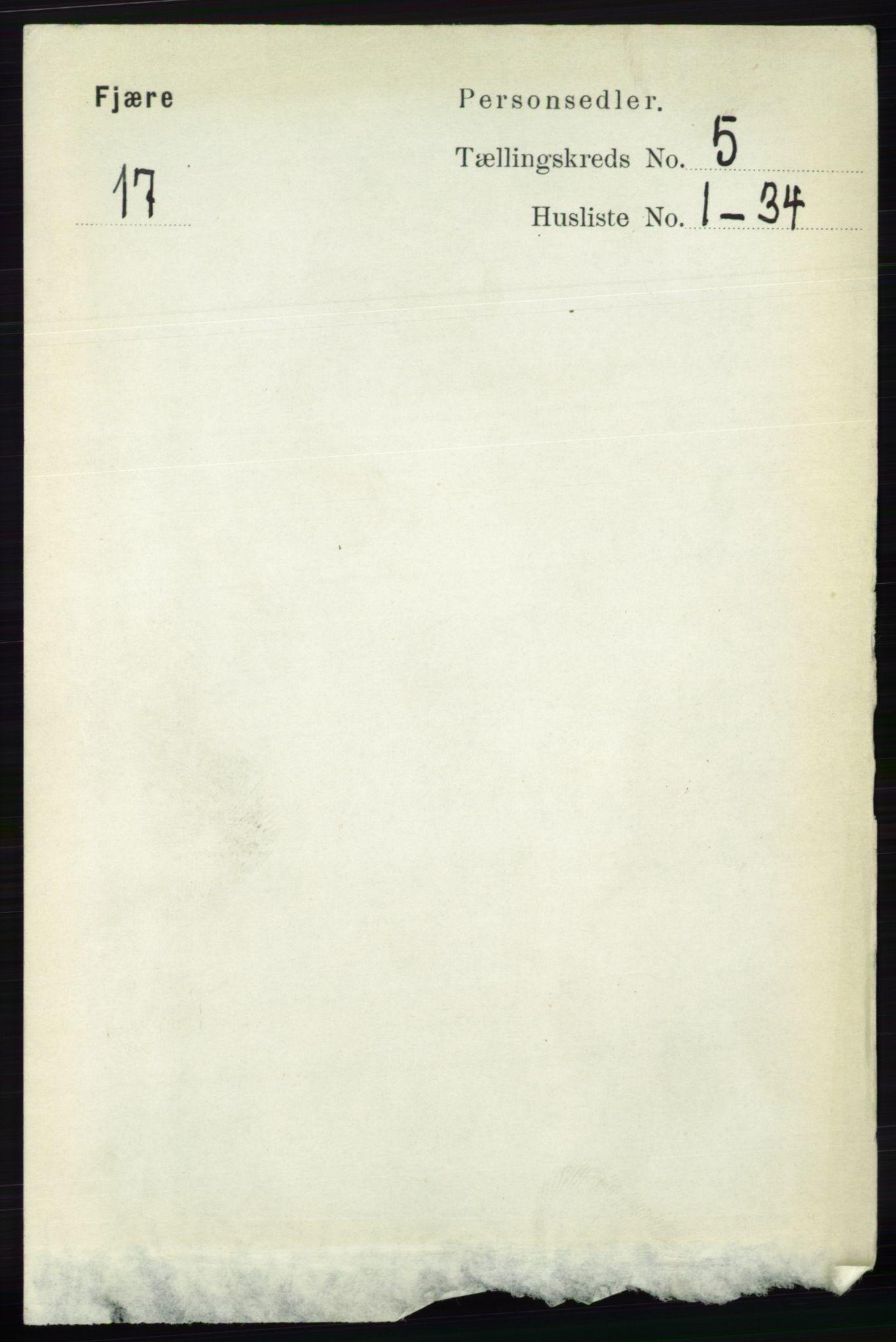RA, Folketelling 1891 for 0923 Fjære herred, 1891, s. 2428