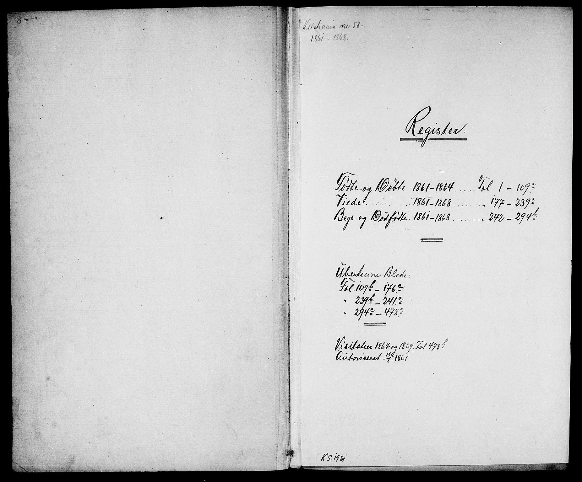 SAO, Gamle Aker prestekontor Kirkebøker, G/L0001: Klokkerbok nr. 1, 1861-1868