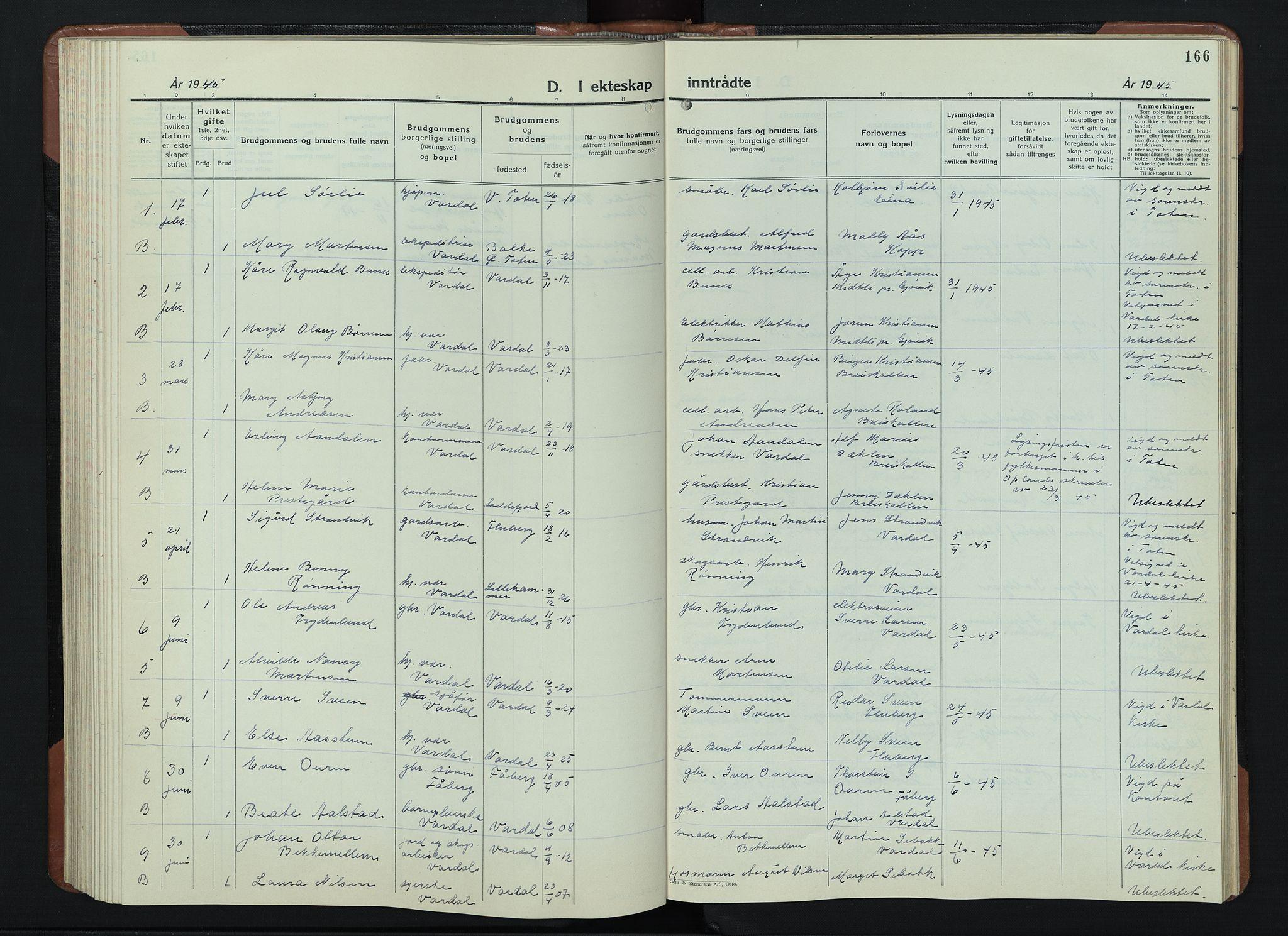SAH, Vardal prestekontor, H/Ha/Hab/L0018: Klokkerbok nr. 18, 1931-1951, s. 166