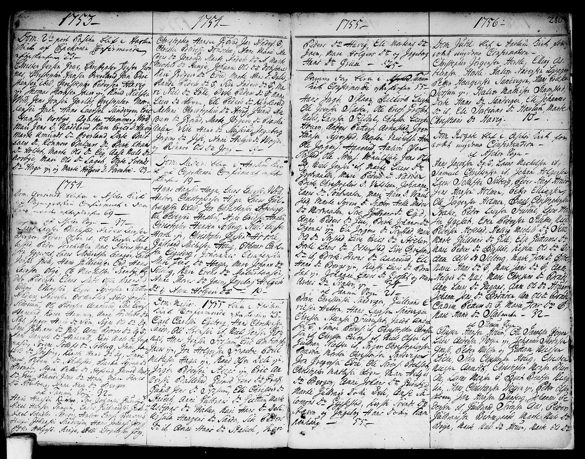 SAO, Asker prestekontor Kirkebøker, F/Fa/L0002: Ministerialbok nr. I 2, 1733-1766, s. 280