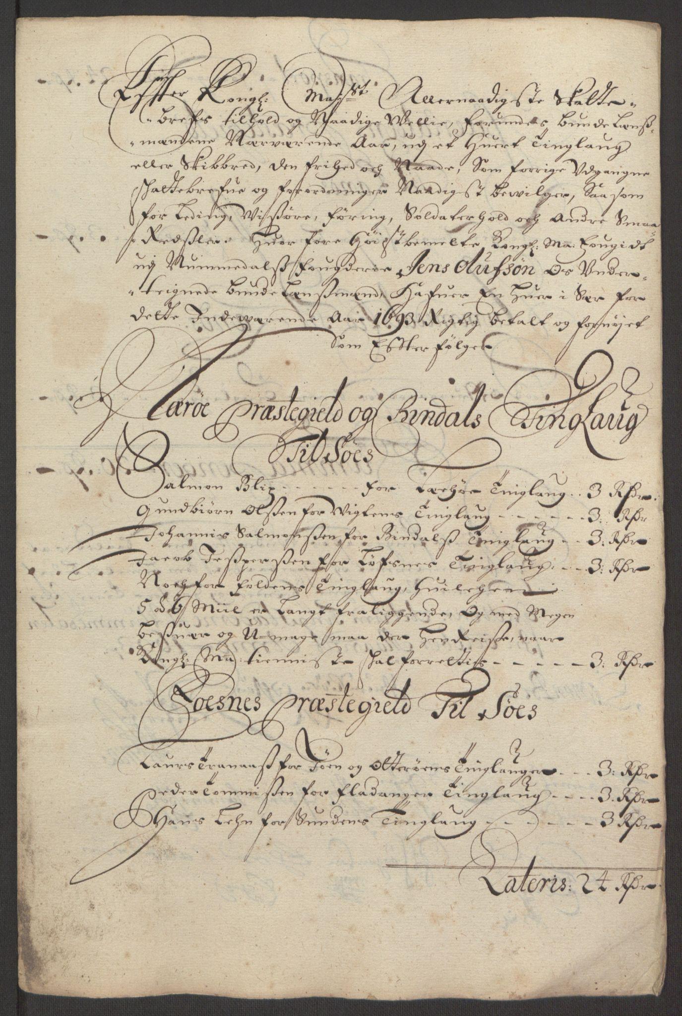 RA, Rentekammeret inntil 1814, Reviderte regnskaper, Fogderegnskap, R64/L4424: Fogderegnskap Namdal, 1692-1695, s. 311