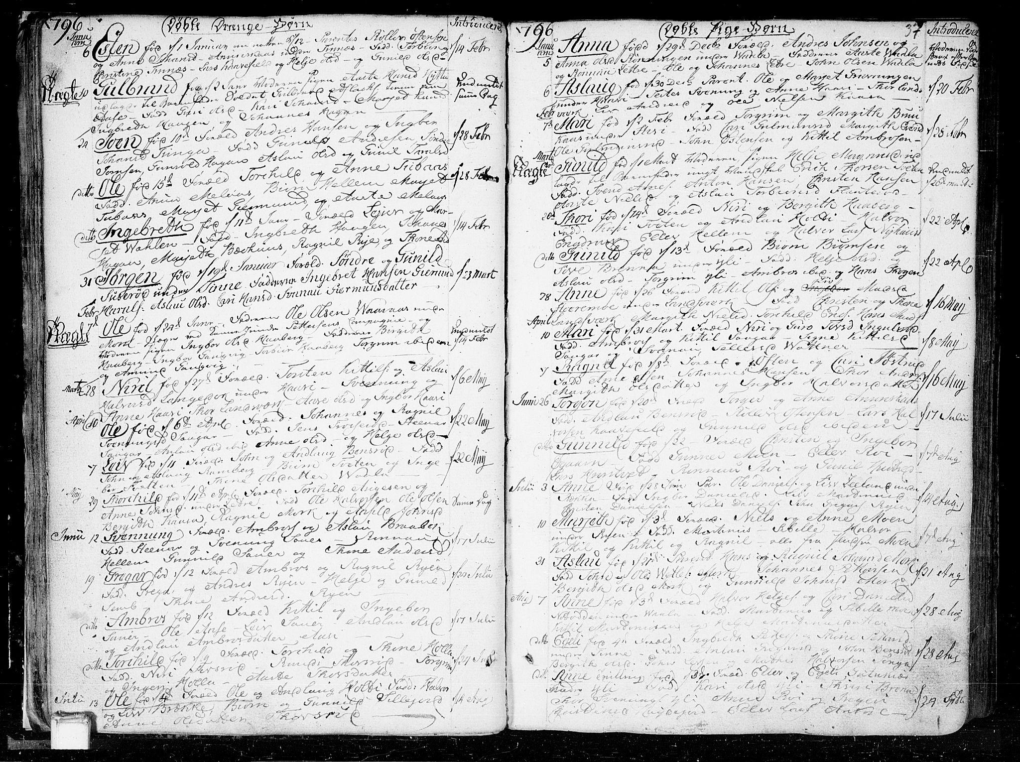 SAKO, Heddal kirkebøker, F/Fa/L0004: Ministerialbok nr. I 4, 1784-1814, s. 37