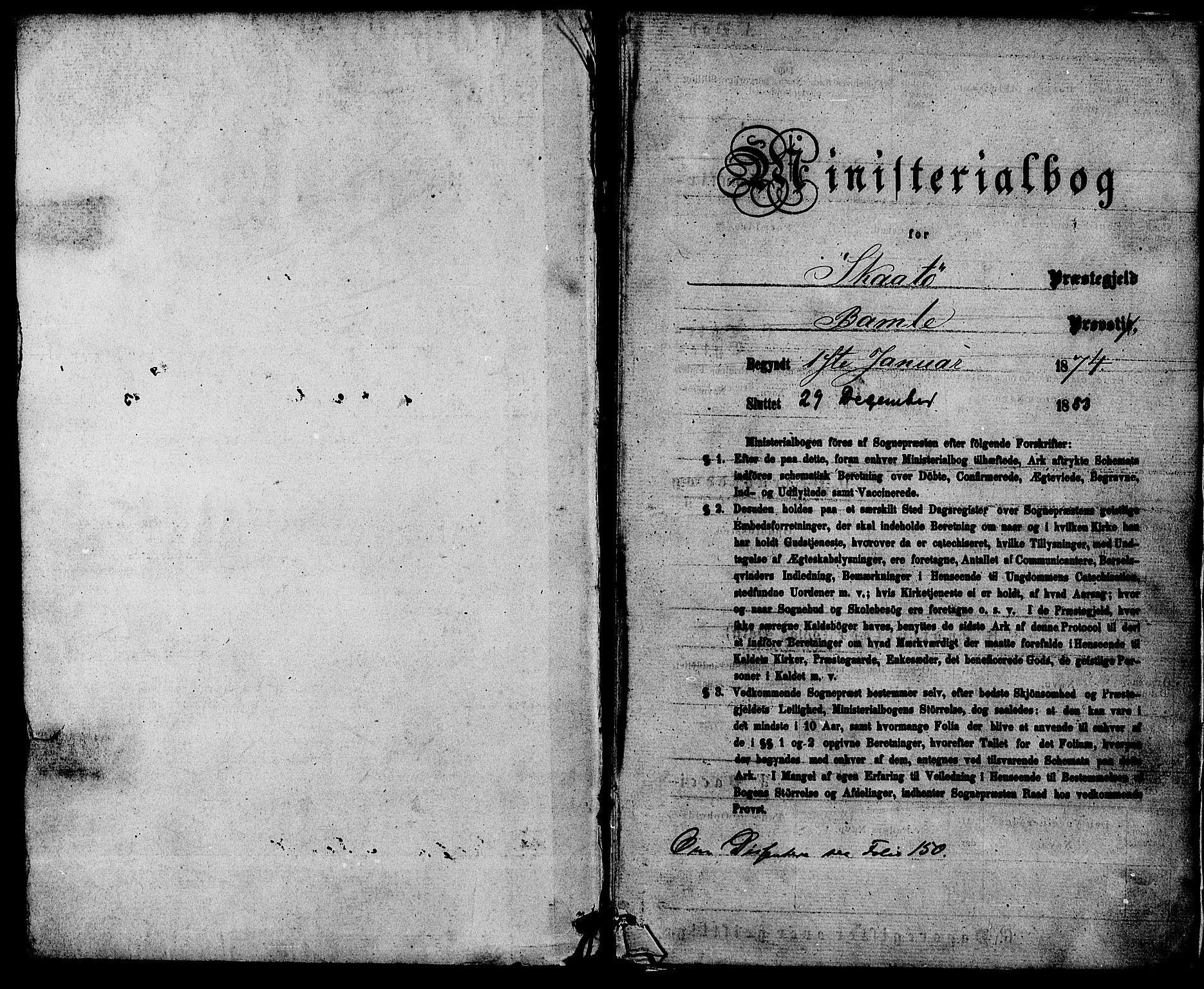 SAKO, Skåtøy kirkebøker, F/Fa/L0001: Ministerialbok nr. I 1, 1874-1883