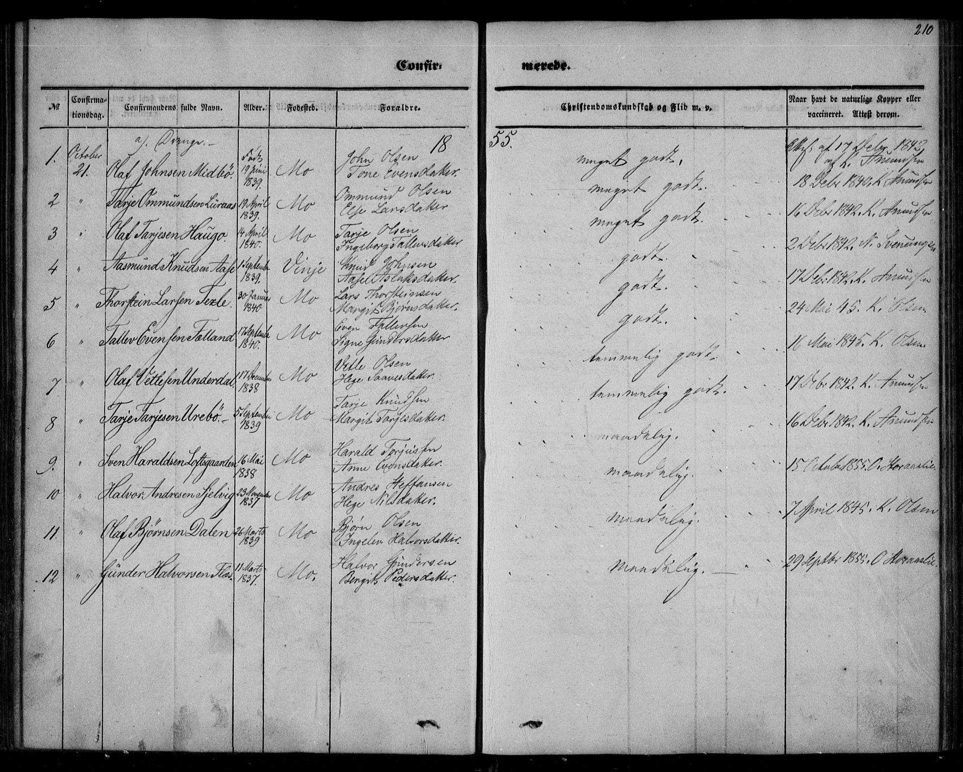 SAKO, Mo kirkebøker, F/Fa/L0005: Ministerialbok nr. I 5, 1844-1864, s. 210