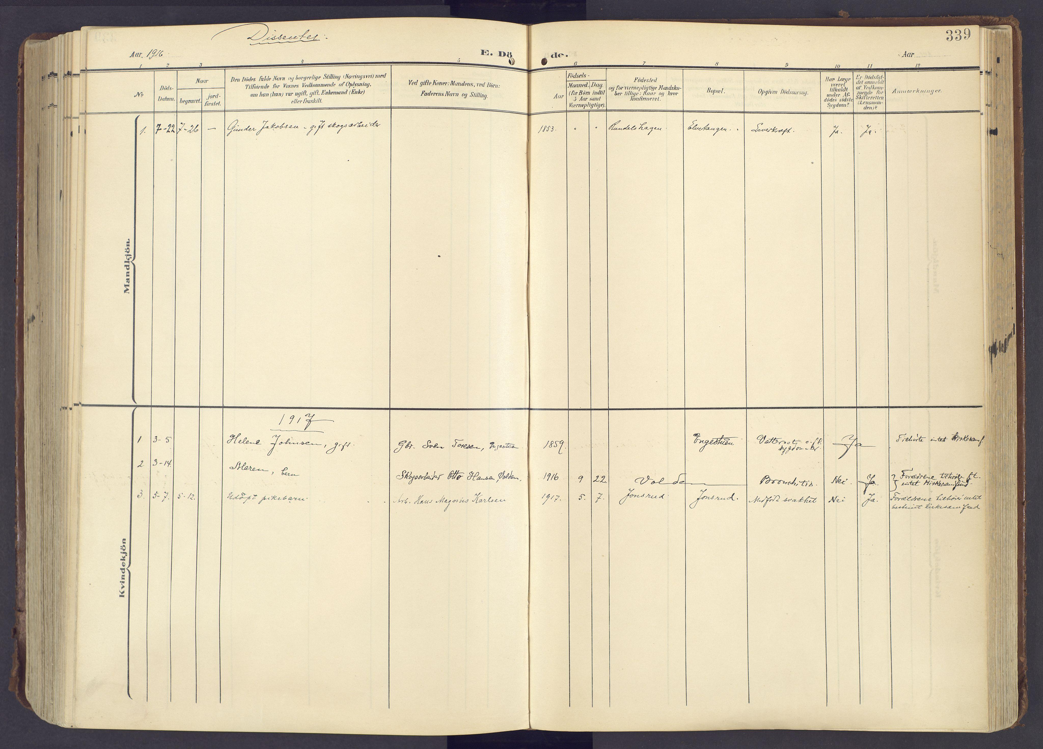 SAH, Lunner prestekontor, H/Ha/Haa/L0001: Ministerialbok nr. 1, 1907-1922, s. 339