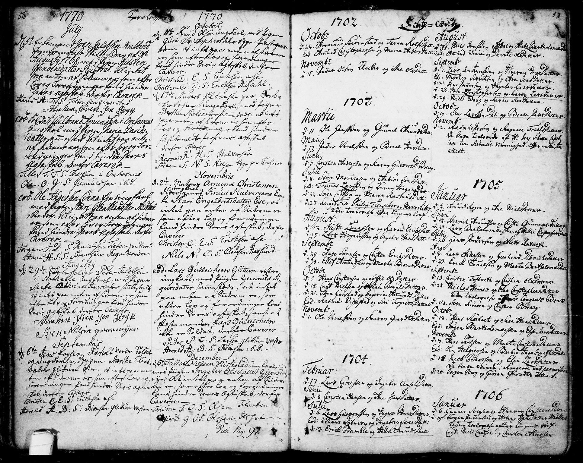 SAKO, Bamble kirkebøker, F/Fa/L0001: Ministerialbok nr. I 1, 1702-1774, s. 56-57