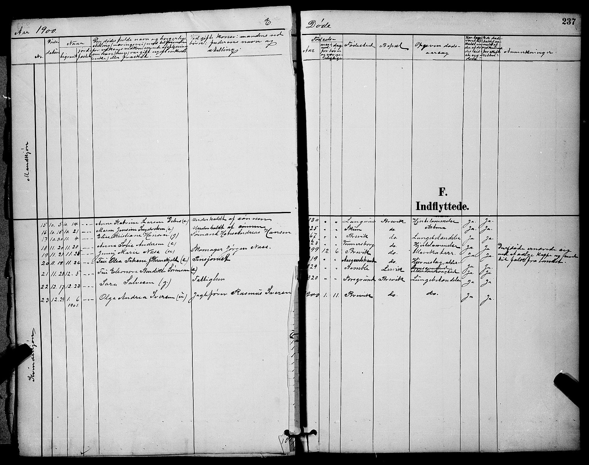 SAKO, Brevik kirkebøker, G/Ga/L0004: Klokkerbok nr. 4, 1882-1900, s. 237