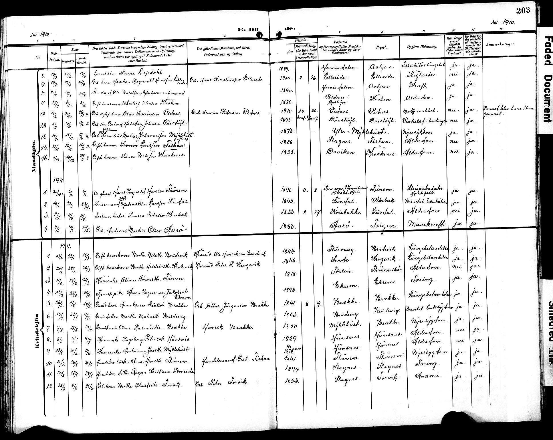 SAT, Ministerialprotokoller, klokkerbøker og fødselsregistre - Møre og Romsdal, 501/L0018: Klokkerbok nr. 501C04, 1902-1930, s. 203