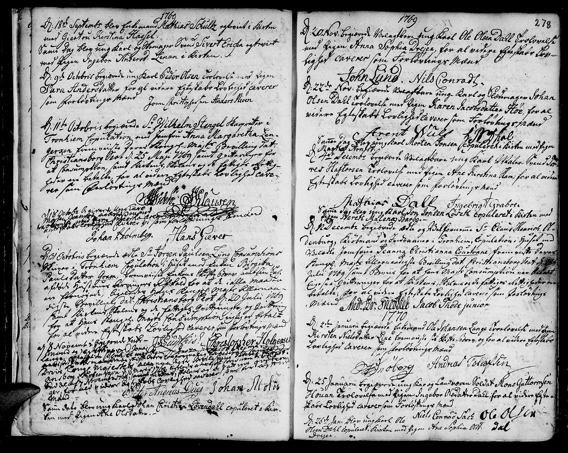 SAT, Ministerialprotokoller, klokkerbøker og fødselsregistre - Sør-Trøndelag, 601/L0038: Ministerialbok nr. 601A06, 1766-1877, s. 278