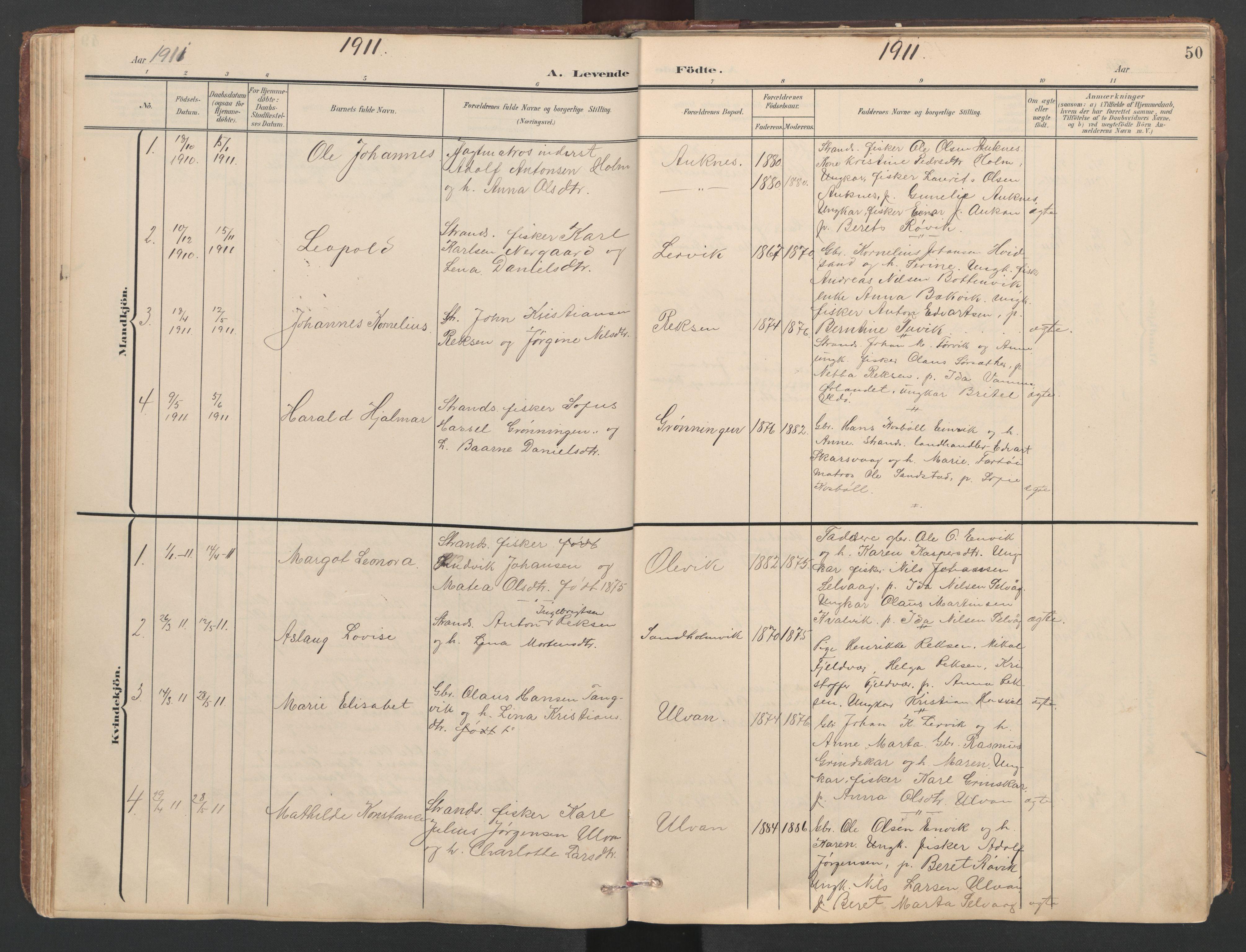 SAT, Ministerialprotokoller, klokkerbøker og fødselsregistre - Sør-Trøndelag, 638/L0571: Klokkerbok nr. 638C03, 1901-1930, s. 50