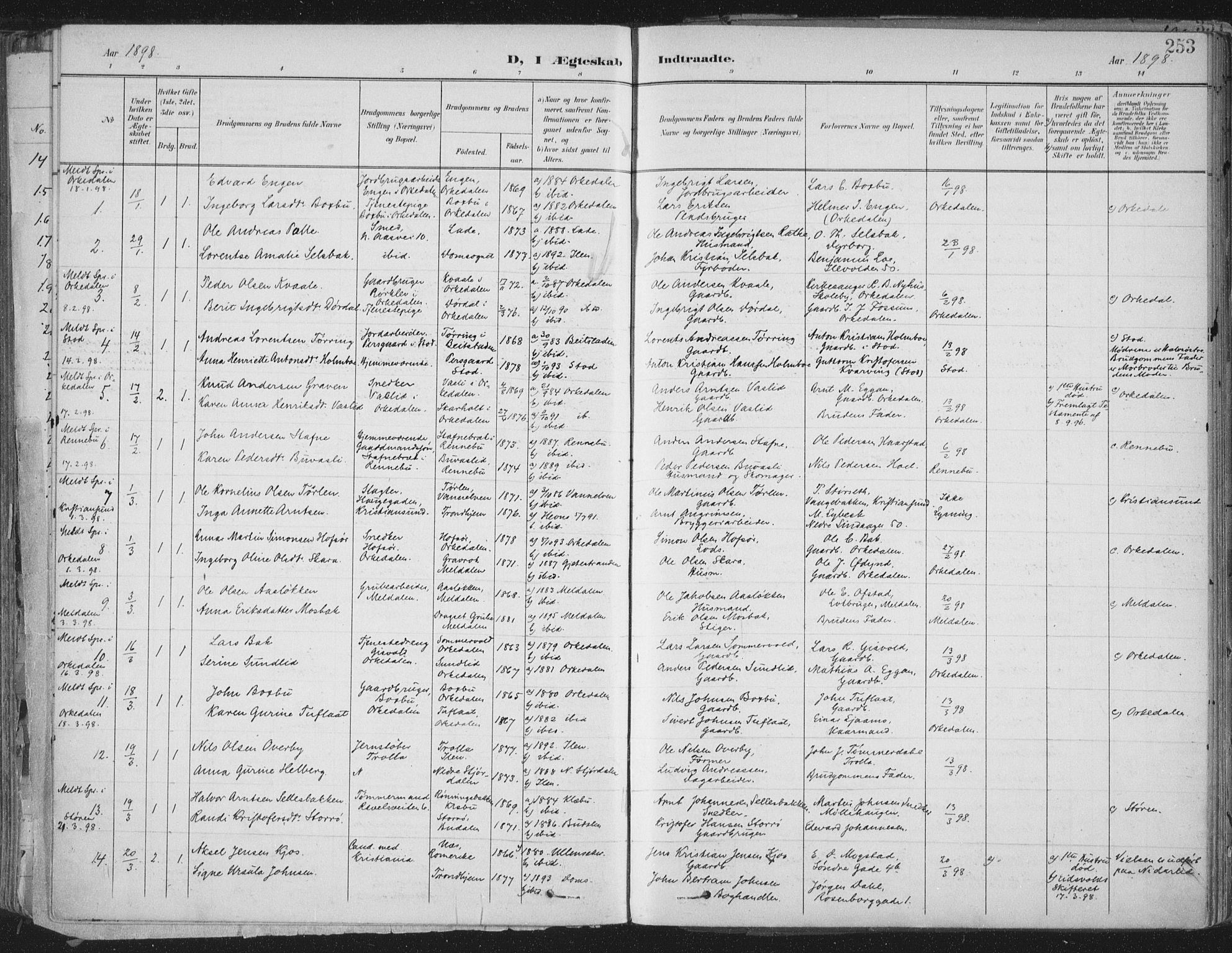 SAT, Ministerialprotokoller, klokkerbøker og fødselsregistre - Sør-Trøndelag, 603/L0167: Ministerialbok nr. 603A06, 1896-1932, s. 253